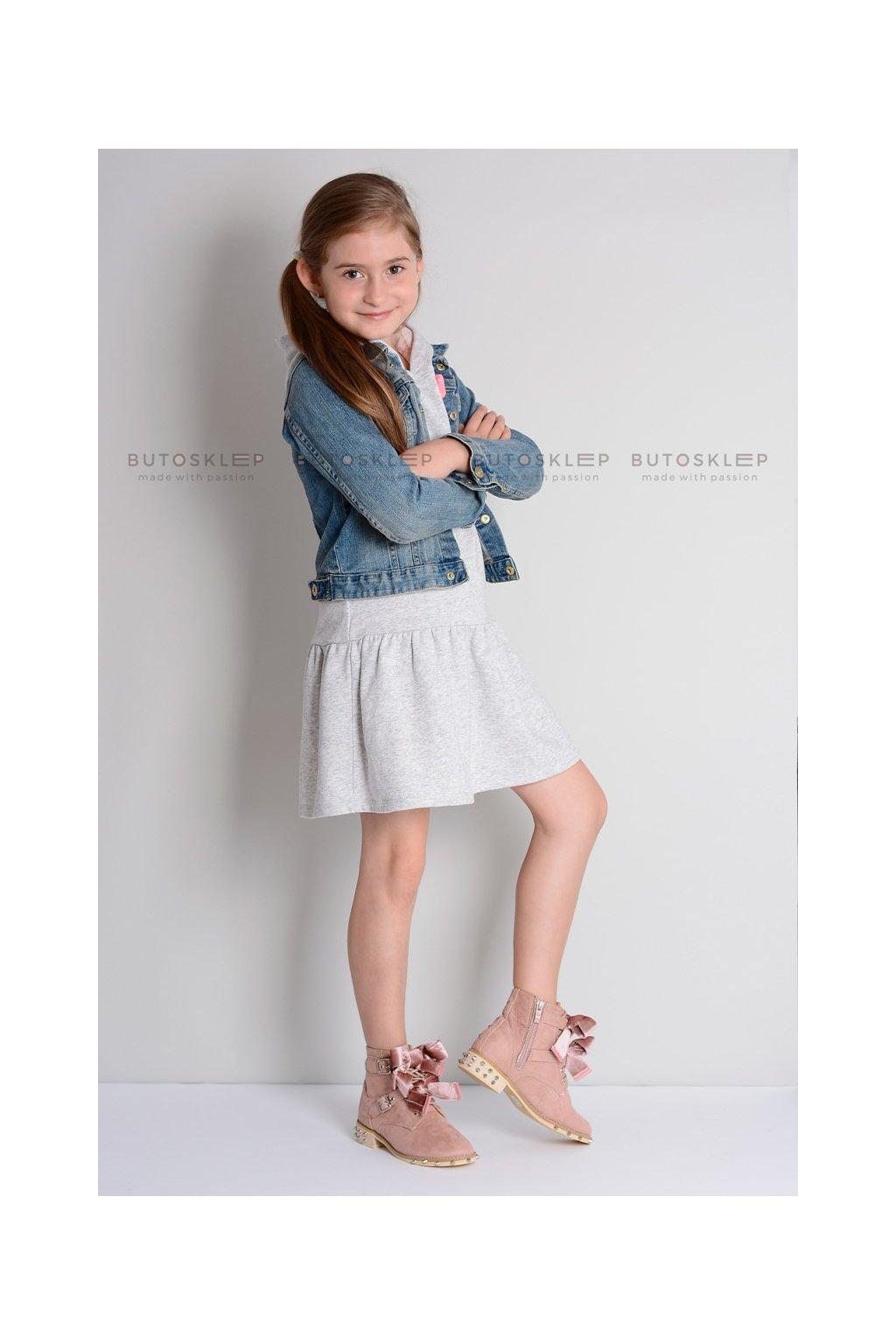 Lu Boo | Dziecięce Topánky zdobené Kokardy LittleCamila Pudrowy Róż
