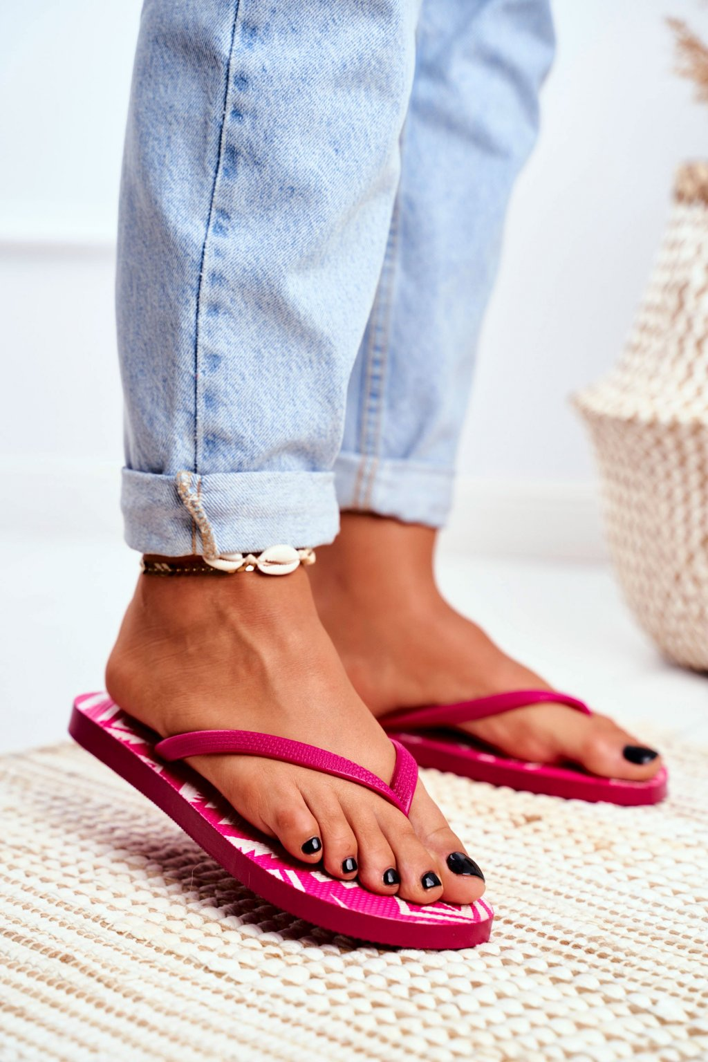 Dámske šľapky farba ružová kód obuvi LS-001 PINK