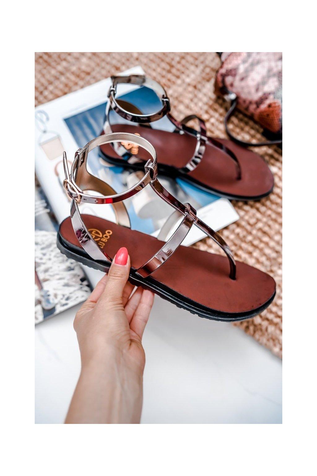 Dámske sandále s plochou podrážkou farba čierna kód obuvi LS01 PEWTER