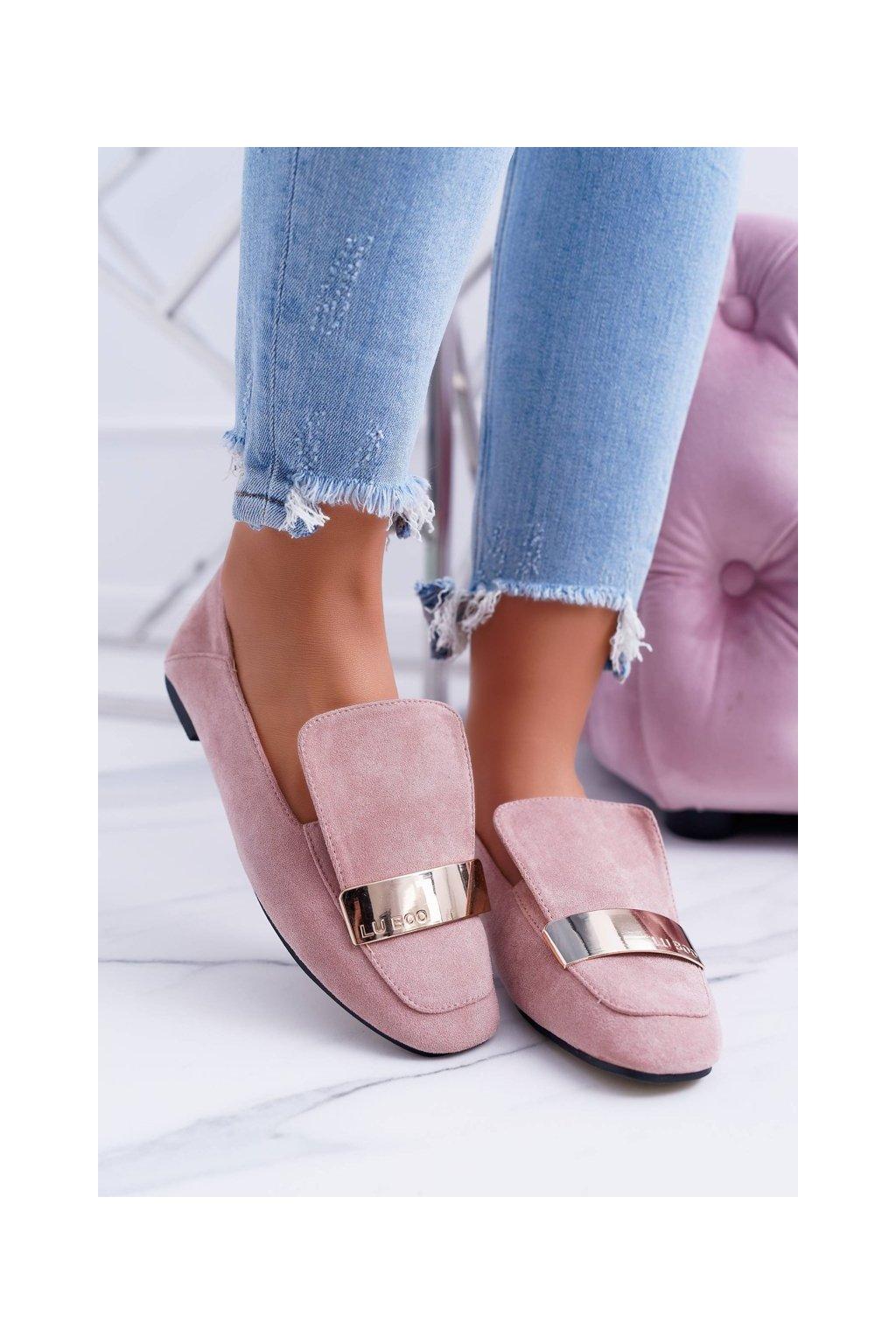 Dámske mokasíny farba ružová kód obuvi 588C-1 PINK SUEDE