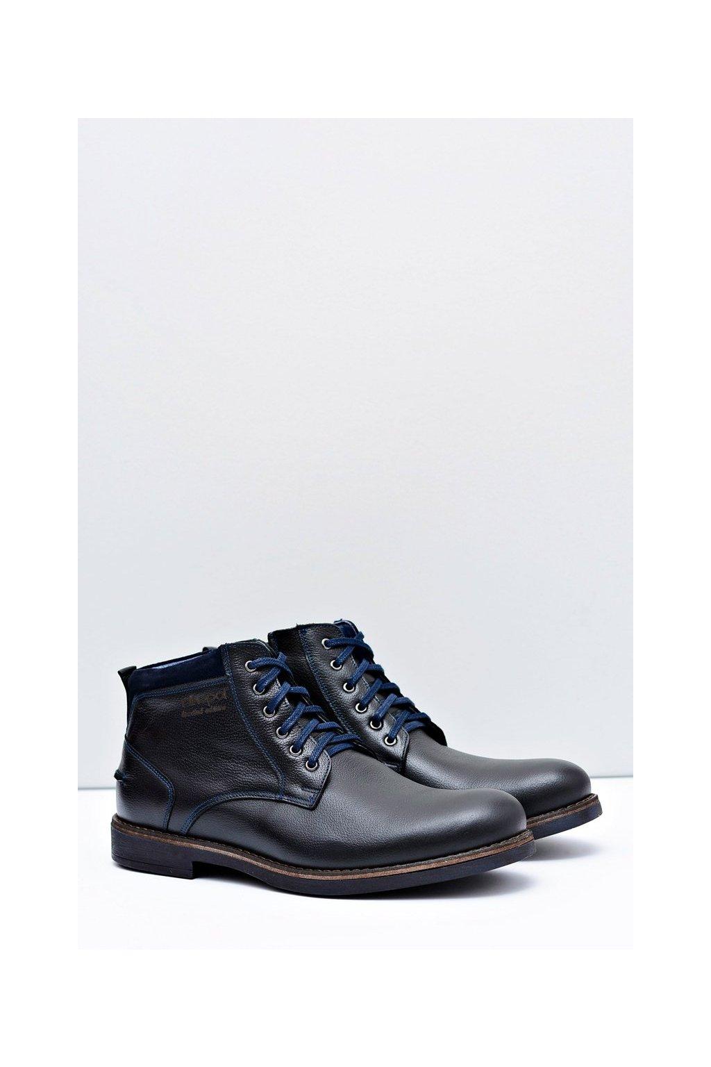 Pánske topánky na zimu farba čierna kód obuvi 671 BLK LICO GROCH