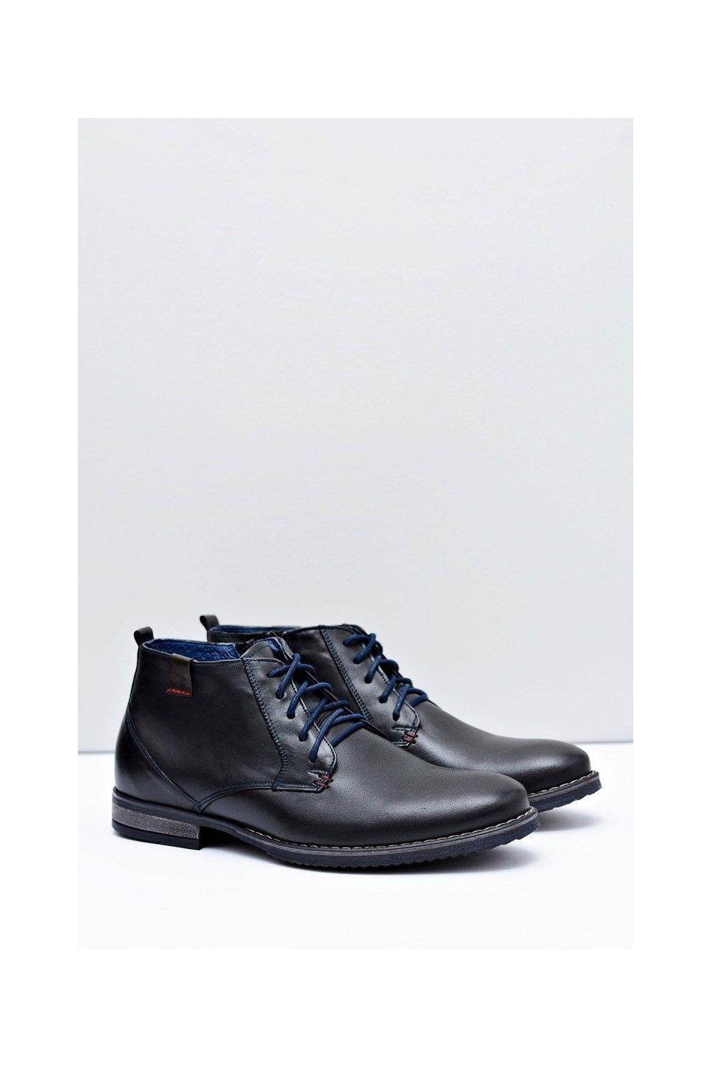 Pánske topánky na zimu farba čierna kód obuvi 672 BLK