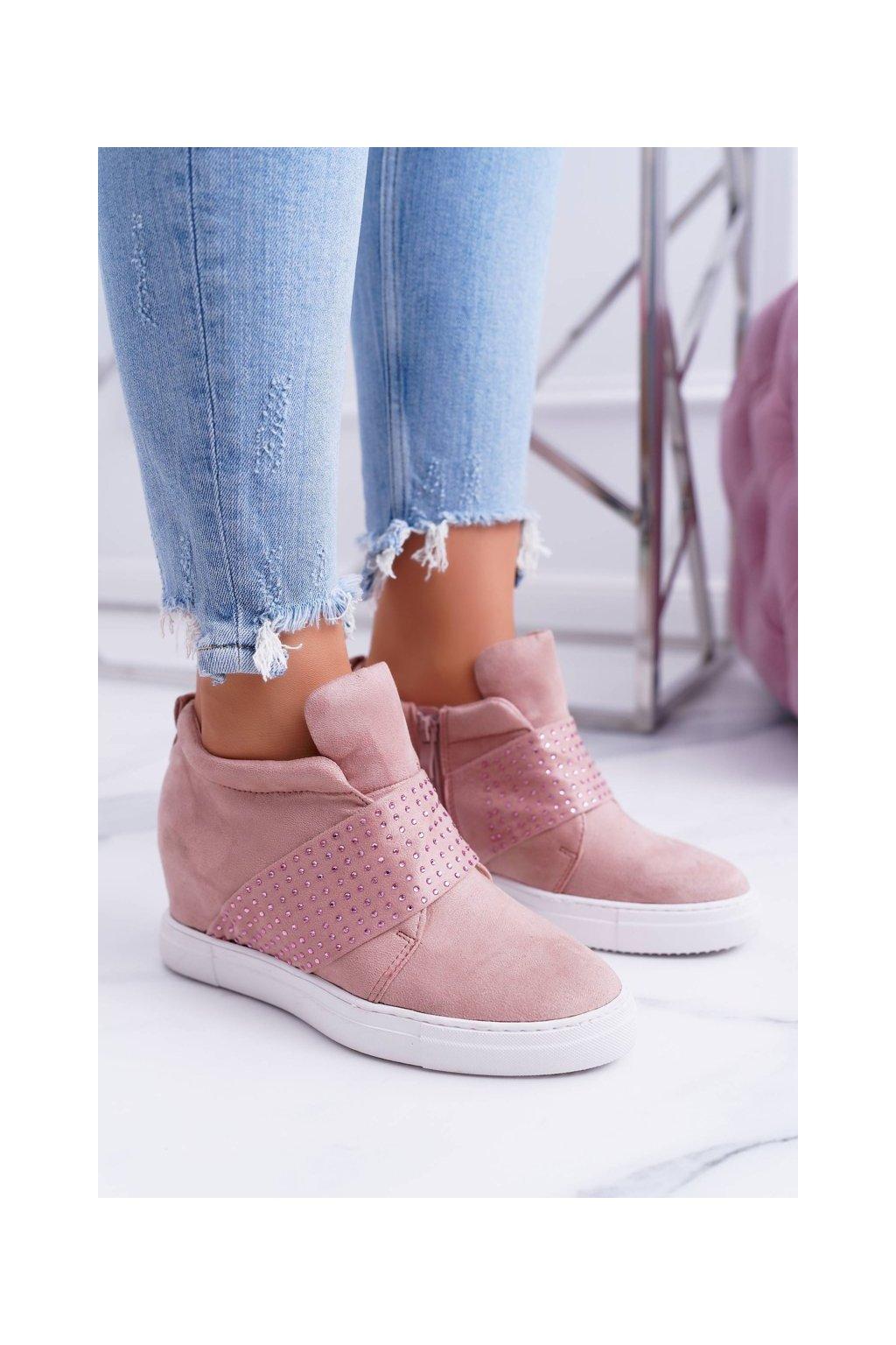 Dámske tenisky farba ružová kód obuvi XW37332 PINK SUEDE