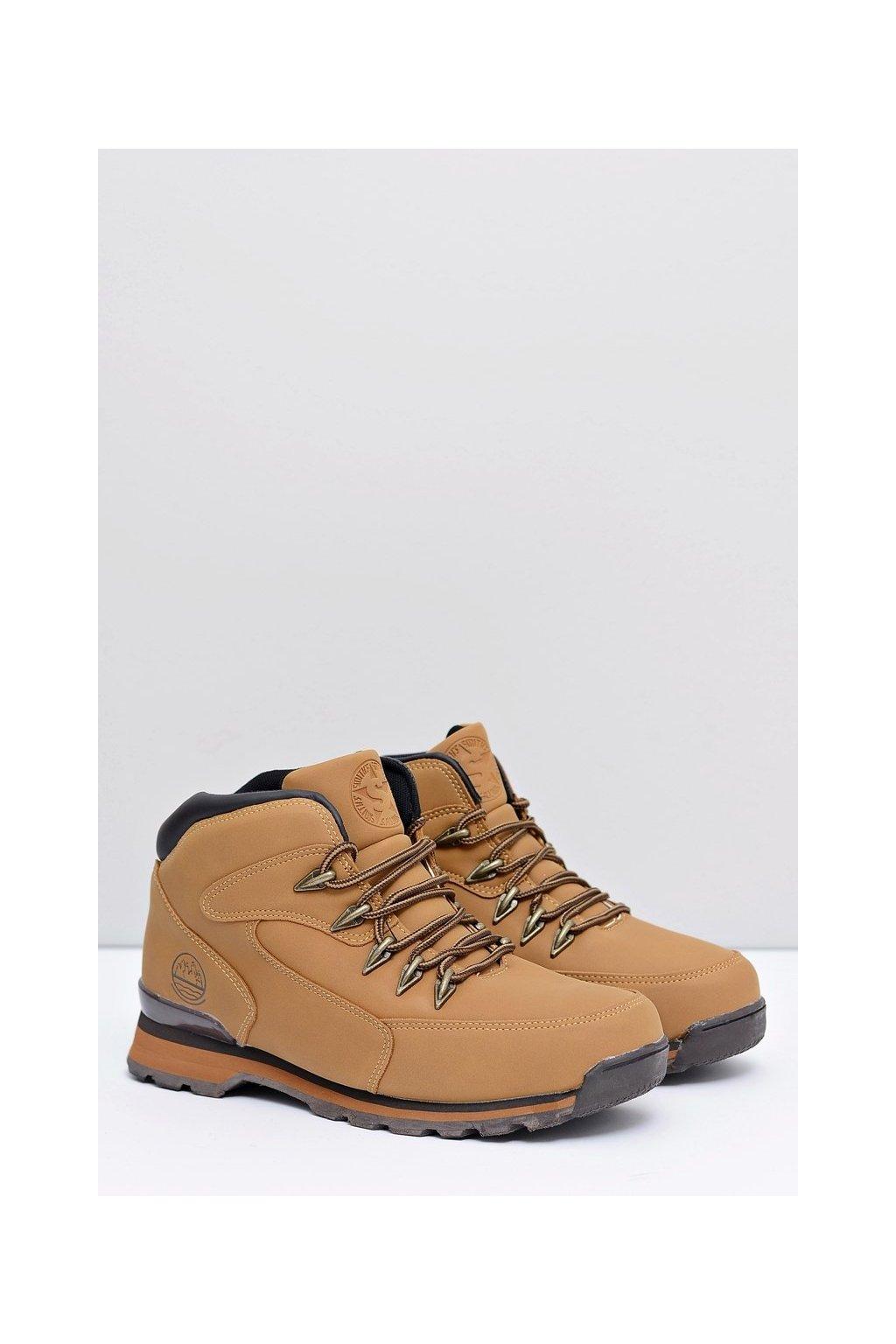 Pánske trekingové topánky farba hnedá kód obuvi M0076 CAMEL