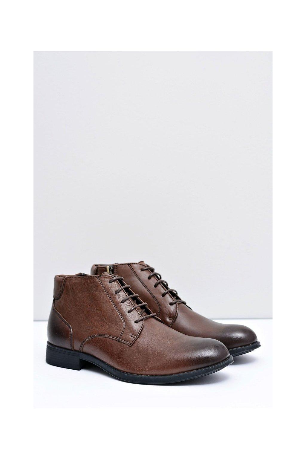 Pánske topánky kožené hnedé topánky Artemigo