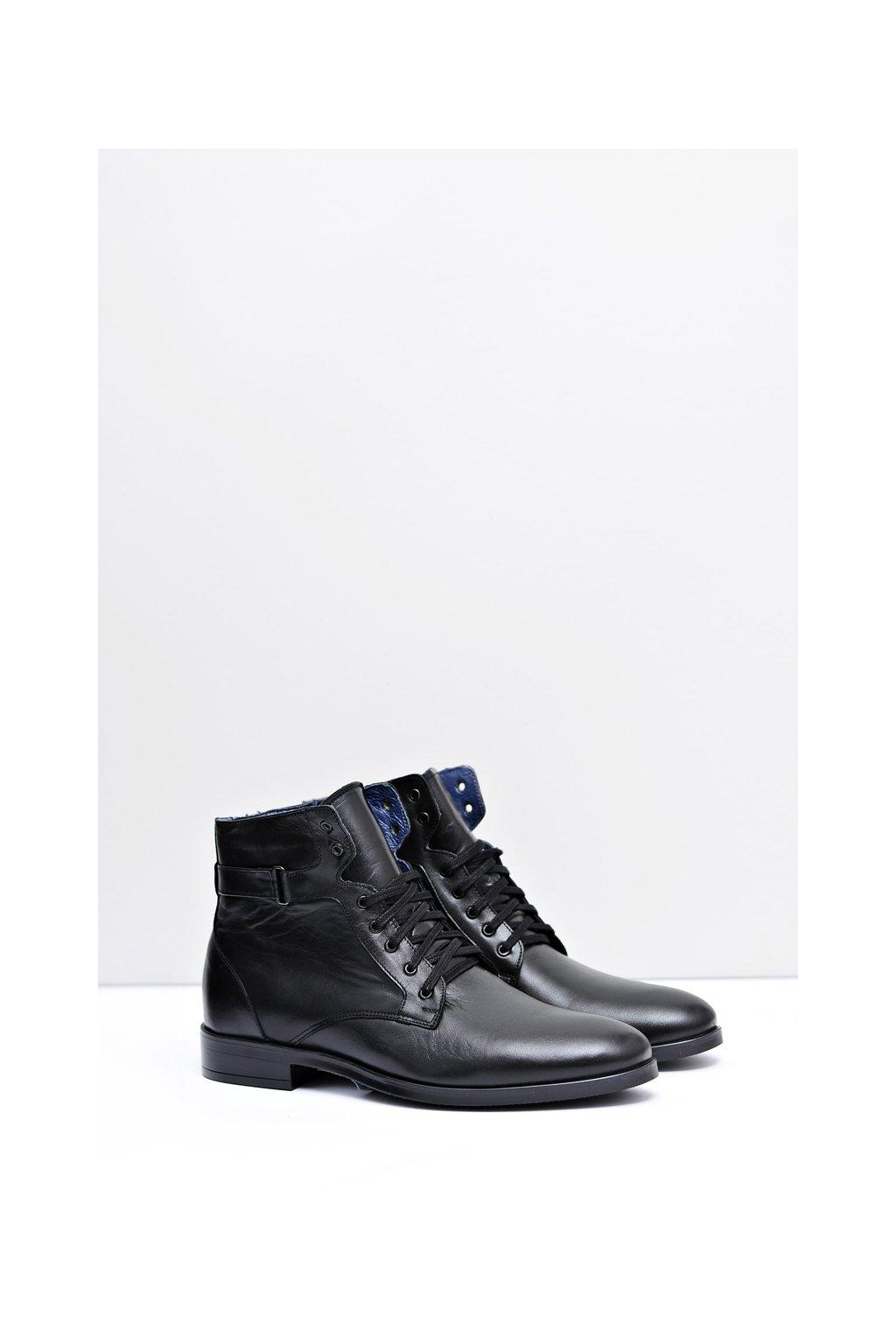 pánske kožené topánky polské čierne topánky Nikopol 661