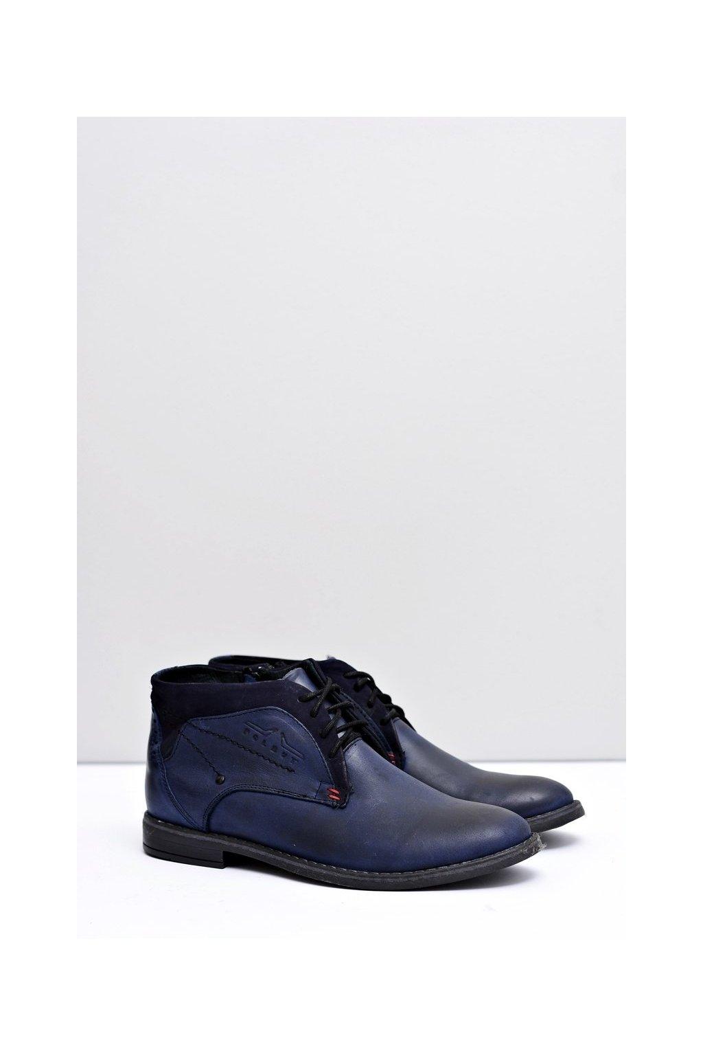 pánske Vysoké topánky Kožené Teplé Kožichy tmavo modré Lotta