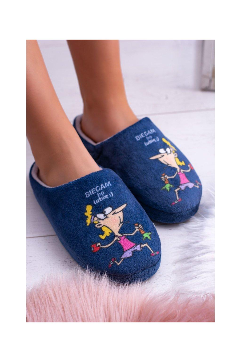 Dámske šľapky farba modrá kód obuvi 0305RUN NAVY