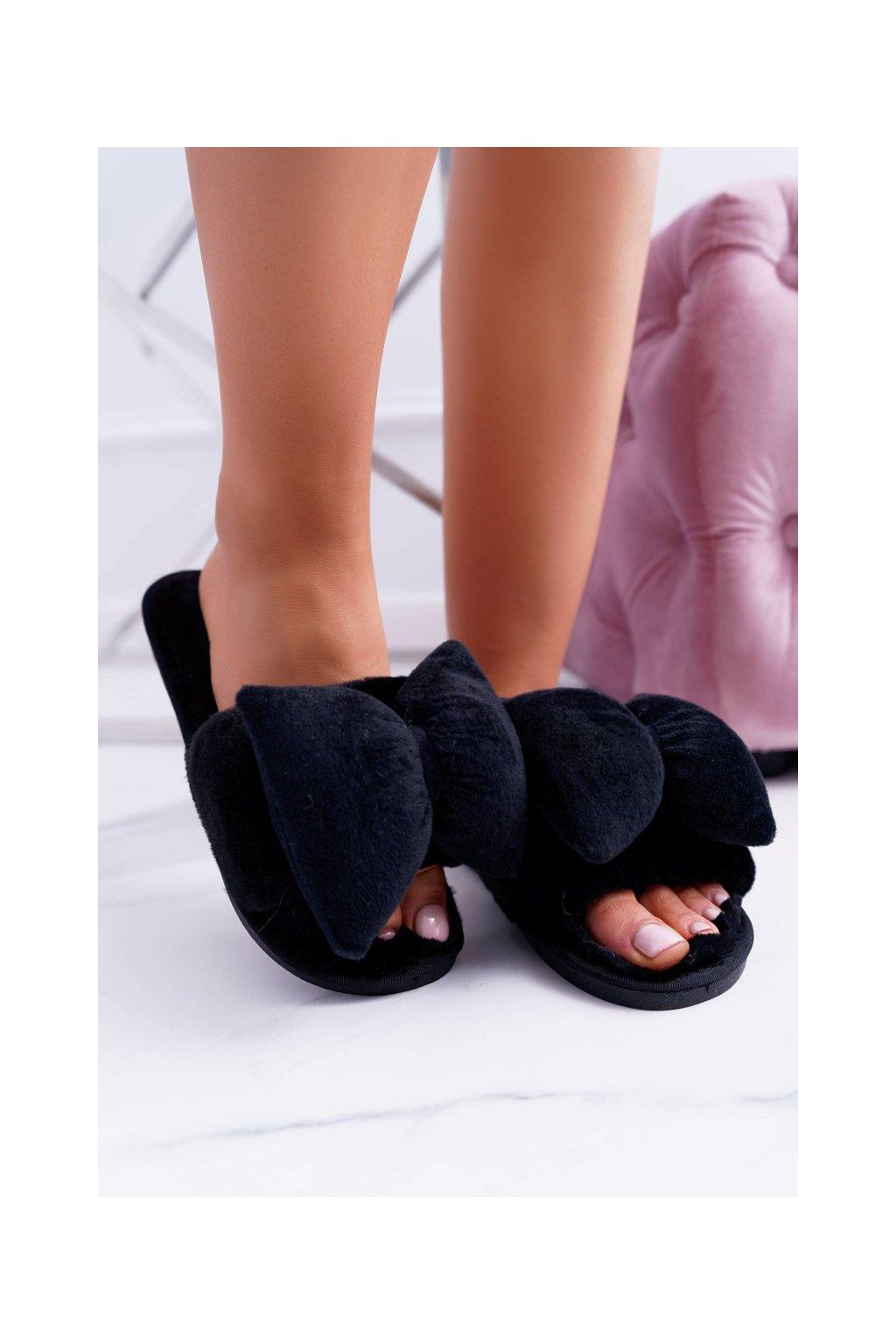 Dámske šľapky farba čierna kód obuvi LB02 BOW BLK