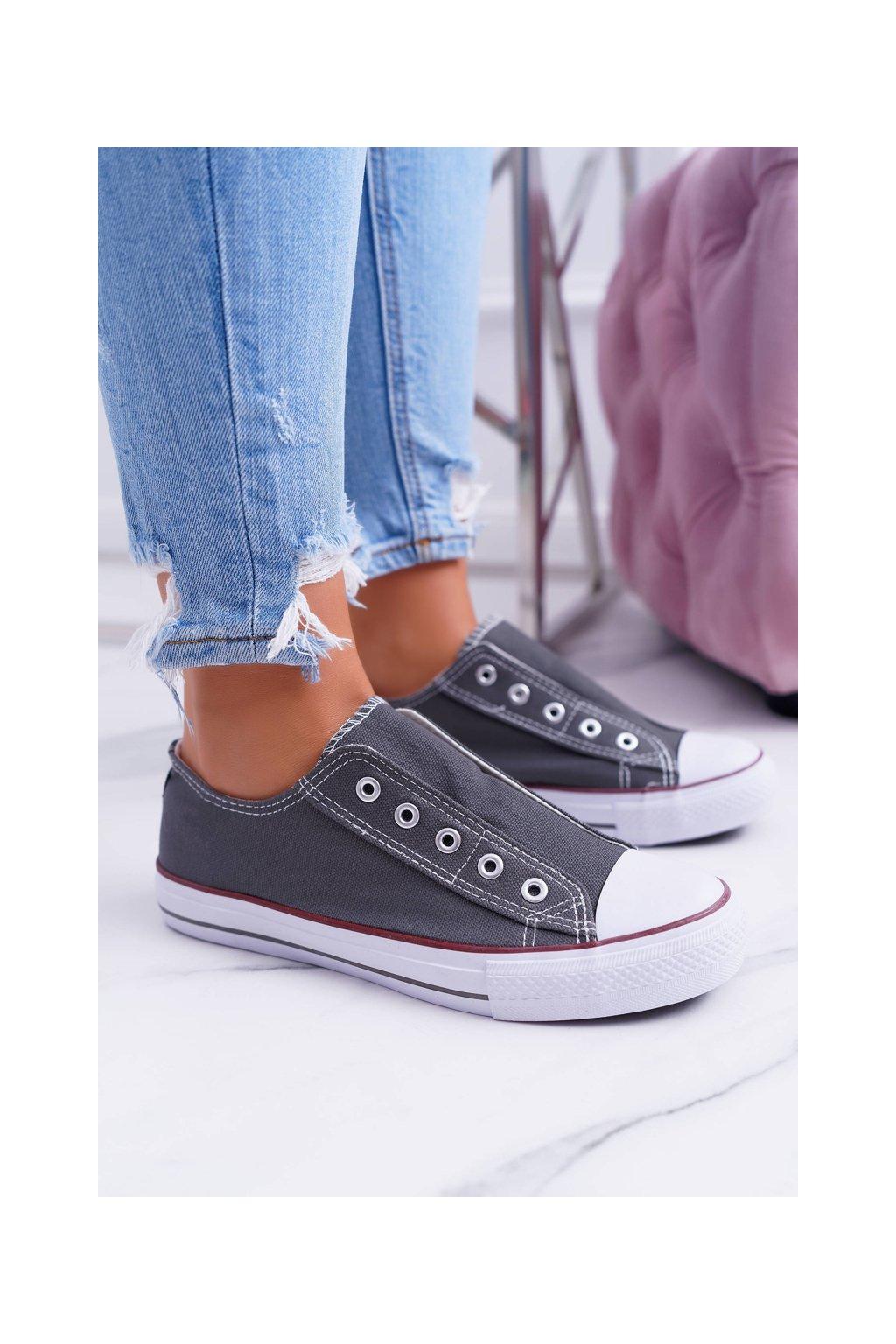 Sivé tenisky pre ženy slip-on Sneakers Crame