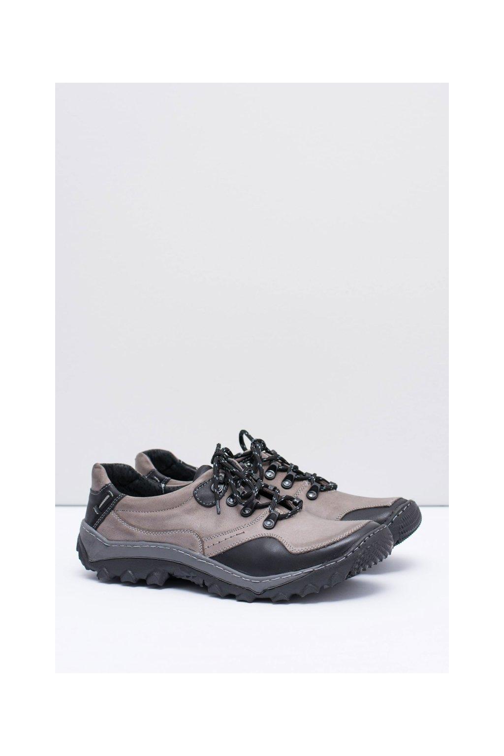 Pánska kožená šedá turistická vychádzková obuv Gretin