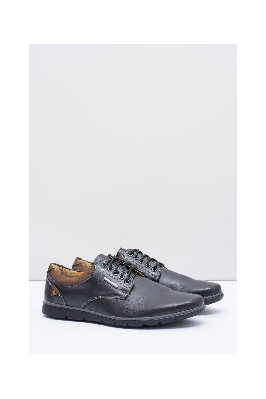 Pánske poltopánky farba čierna kód obuvi 89026 BLK