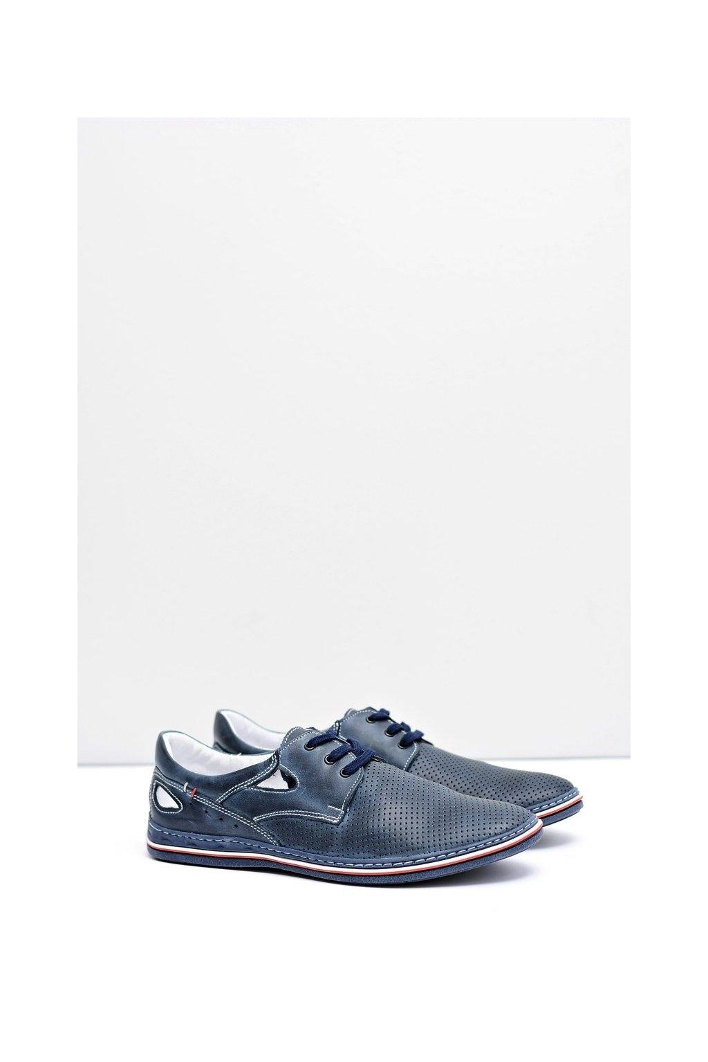 Tmavo modré pánske perforované kožené topánky Arturo