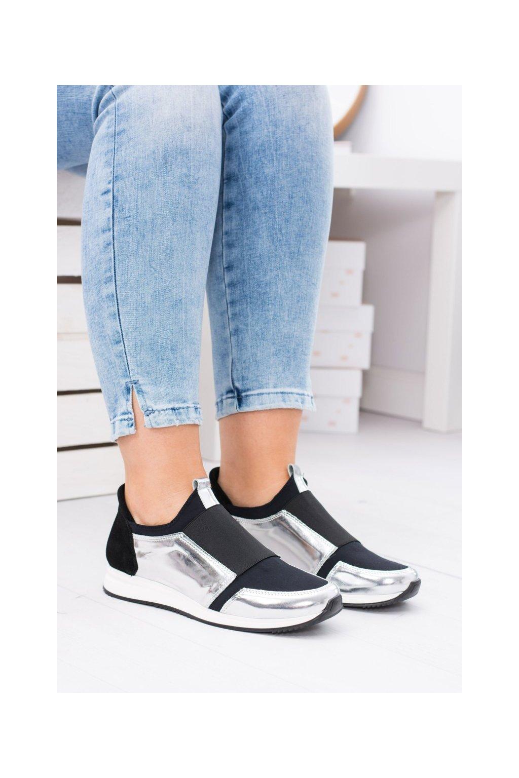 Dámske tenisky farba čierna kód obuvi 474 SILVER MIRROR