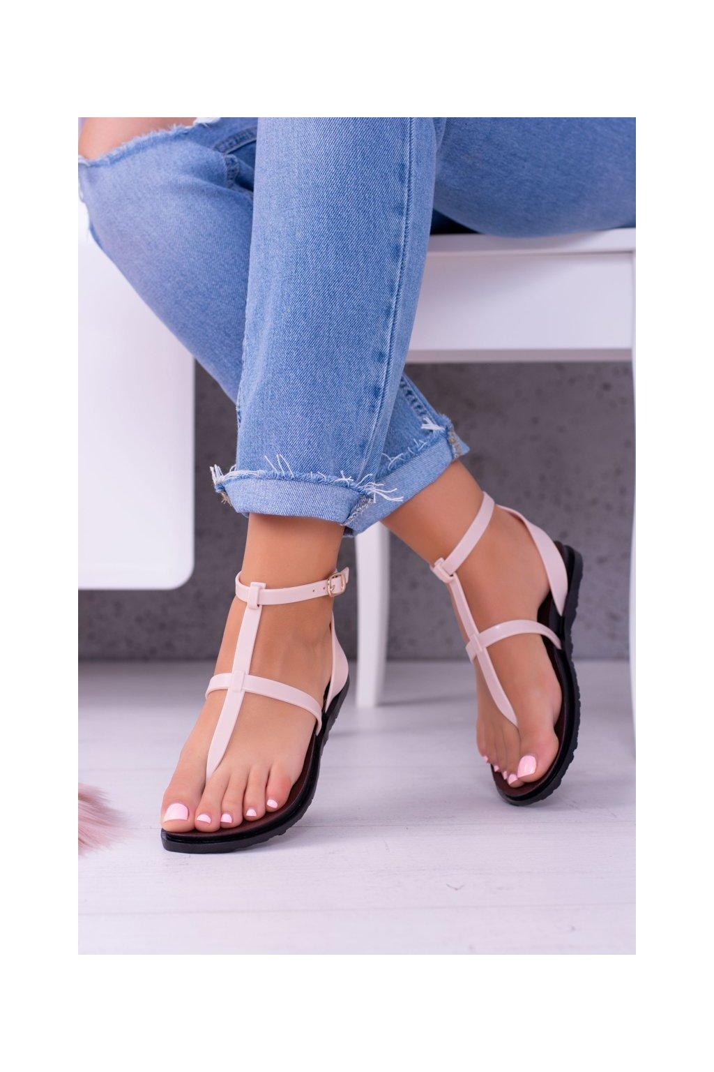 Dámske ploché sandále farba hnedá kód obuvi LS01 BEI