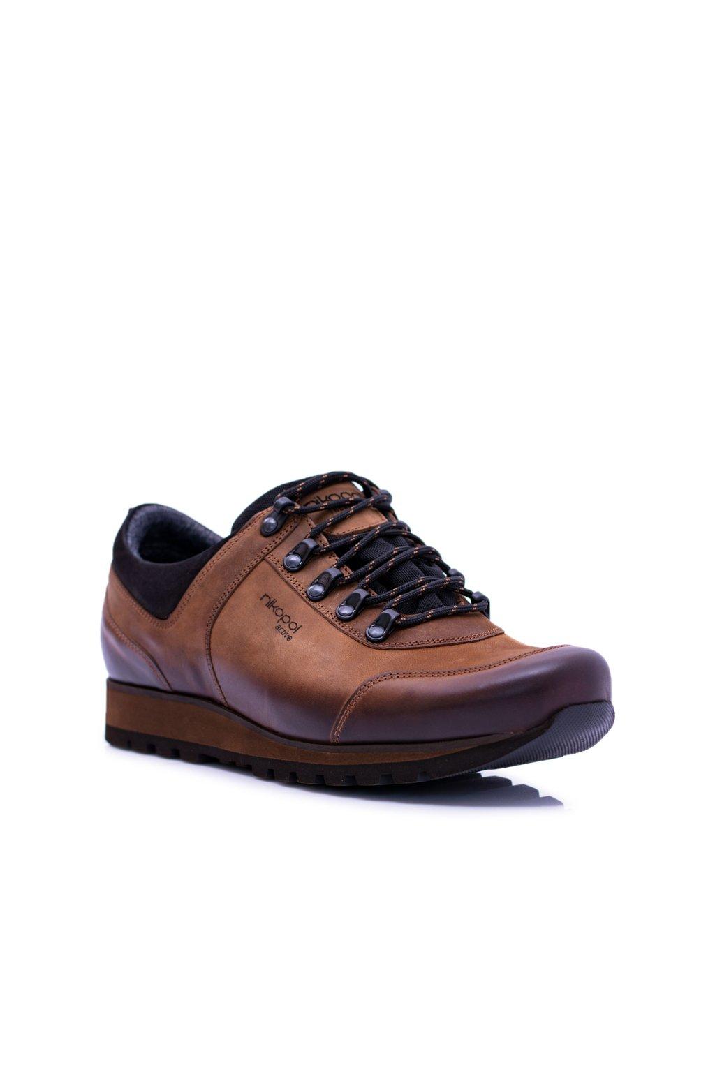 Pánske trekingové topánky farba hnedá kód obuvi 1685 BROWN