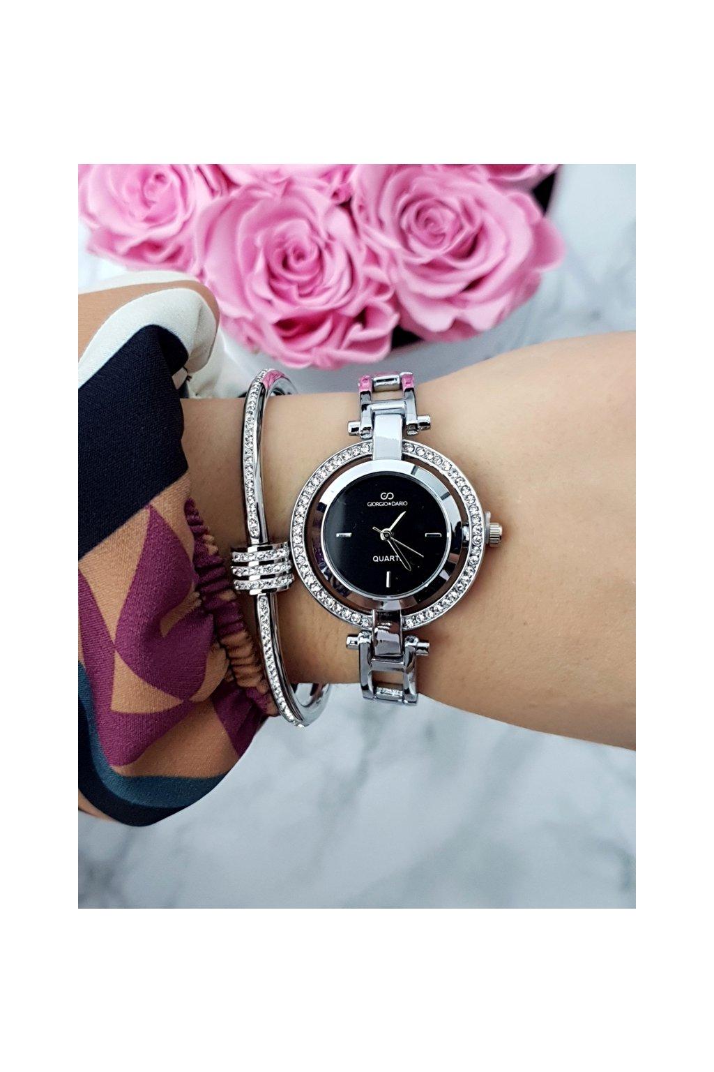 Dámske hodinky Giorgio & Dario so zirkónmi Get strieborný
