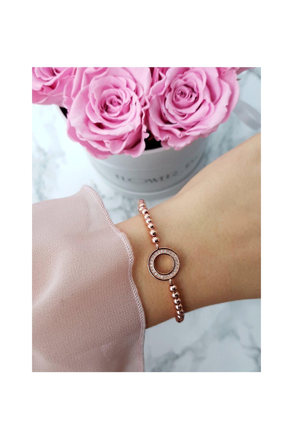 Dámsky náramok s korálkami s kruhom ružové zlato Atria