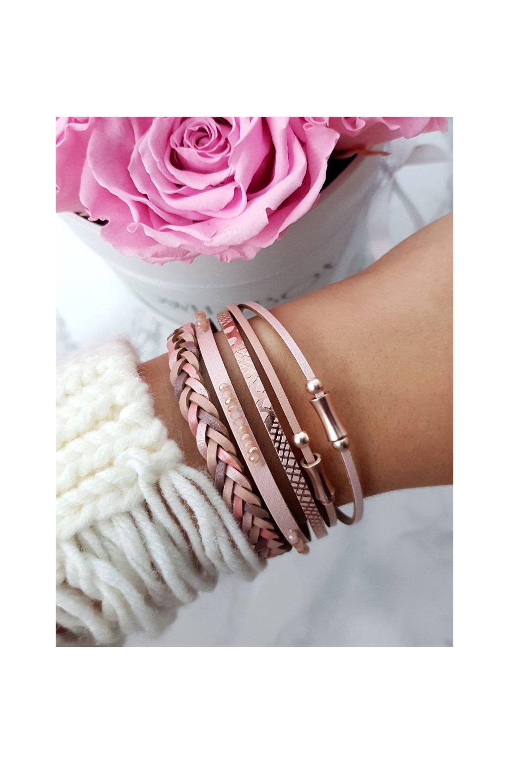 Dámsky náramok kožený remienok ružový Michiko