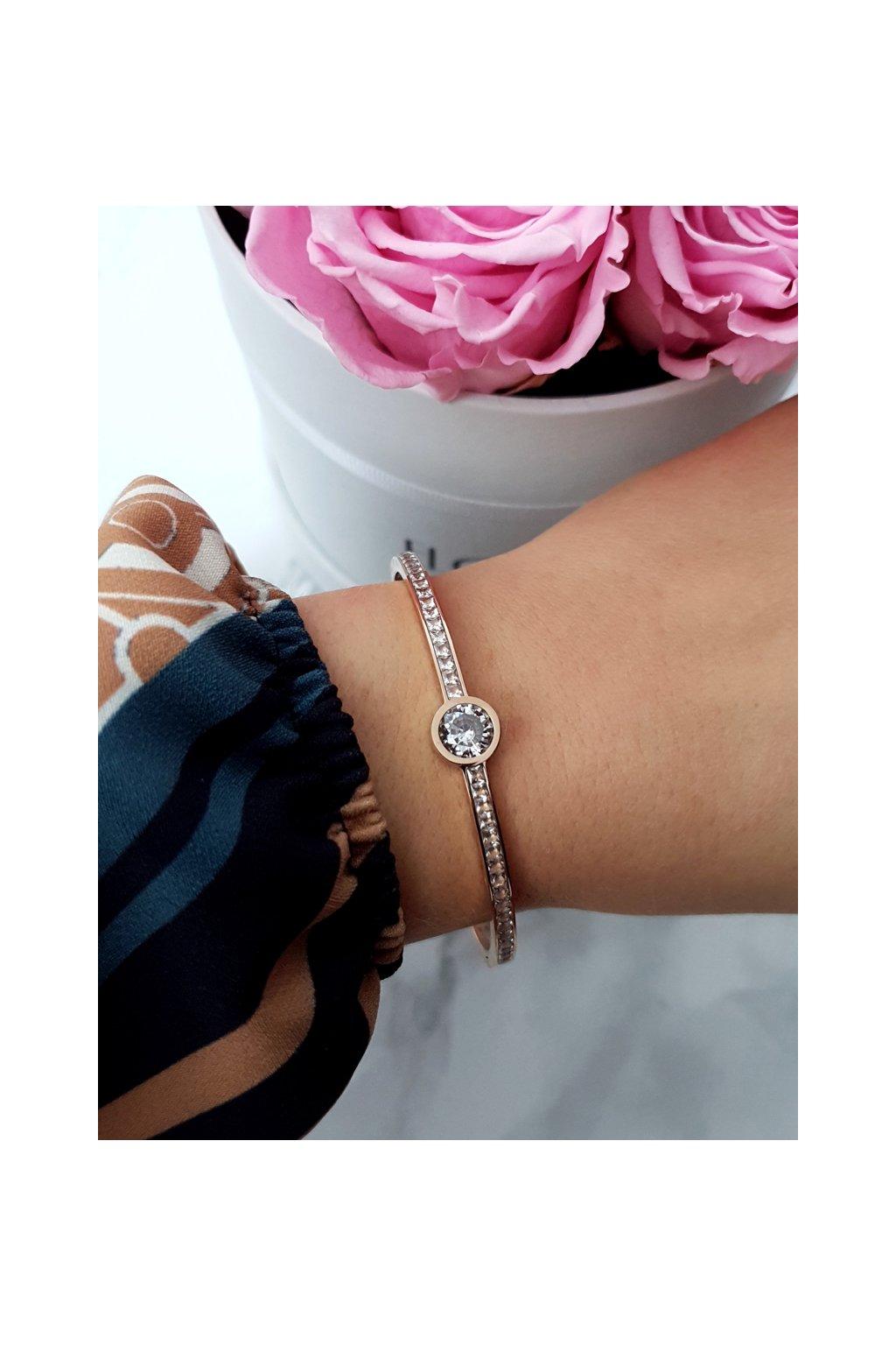 Dámsky náramok oceľ zirkóny kryštálu ružové zlato Quento
