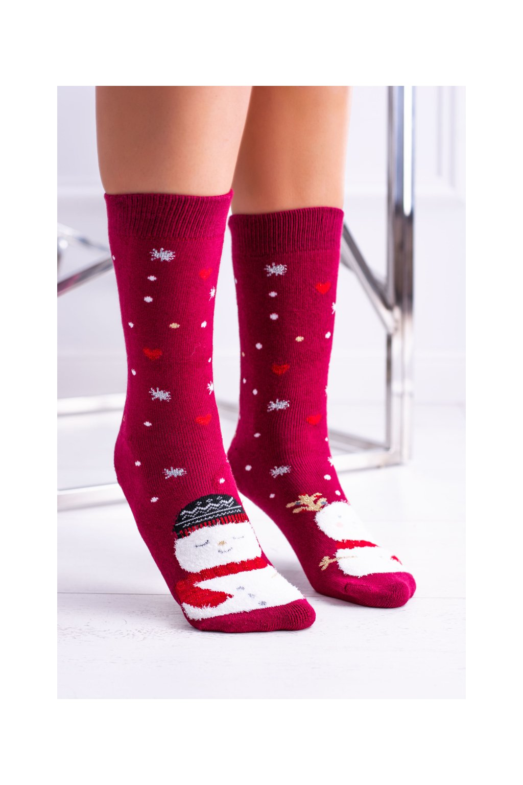 Dámske vianočné ponožky protiskluzové červené se snehulákem