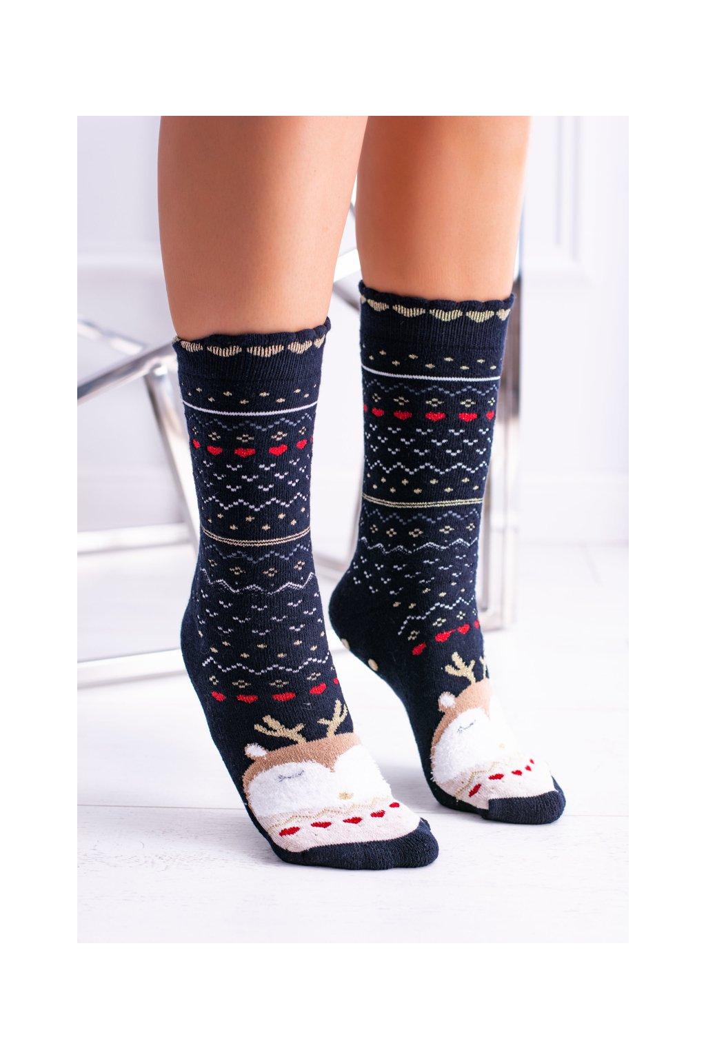 Dámske vianočné ponožky protišmykové čierne so sobom