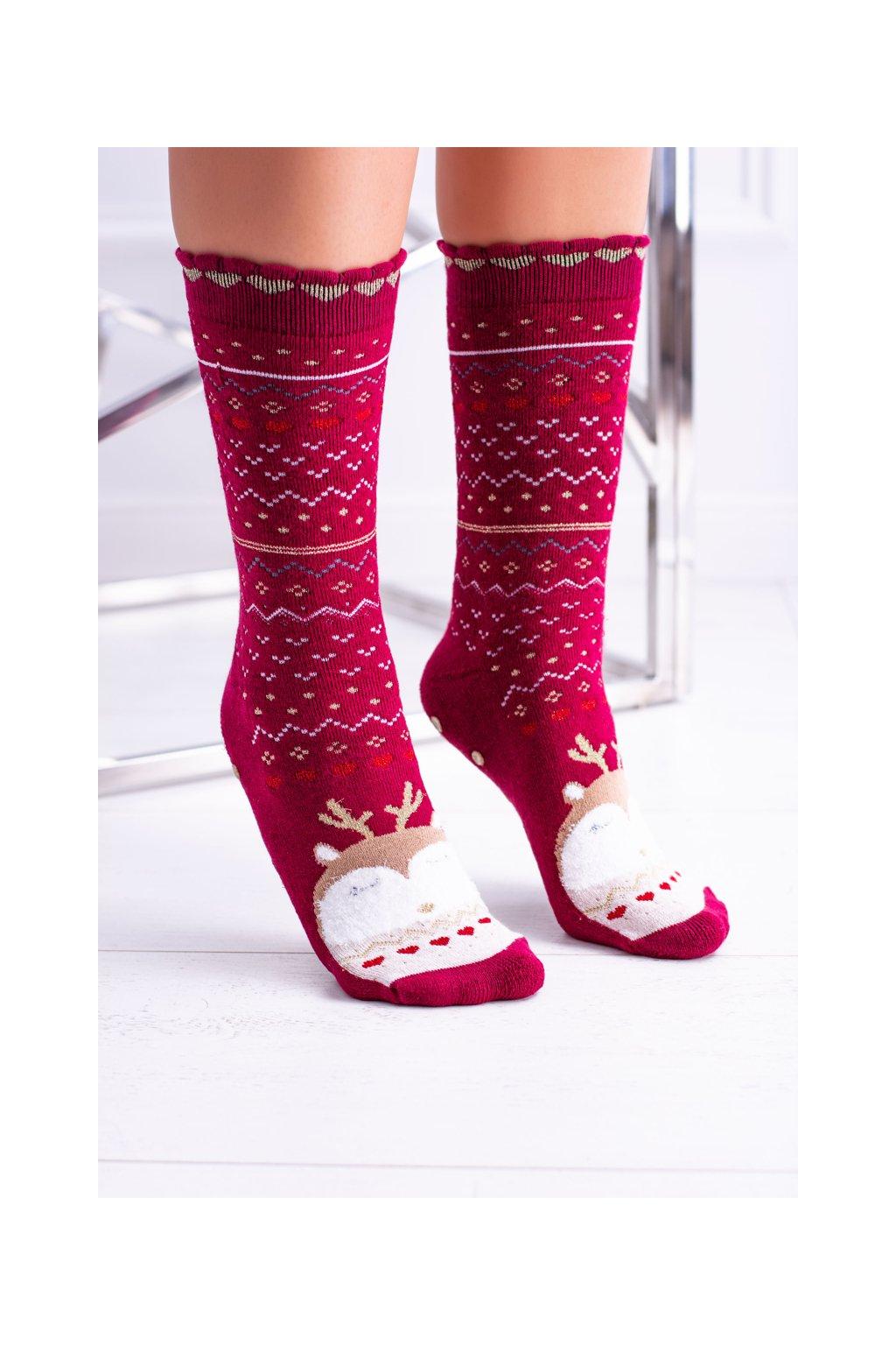 Dámske vianočné ponožky protiskluzové červené se sobem