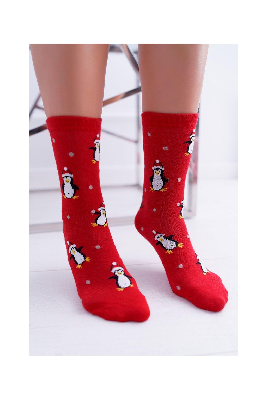 Dámske ponožky SOXO Červená s tučňáky