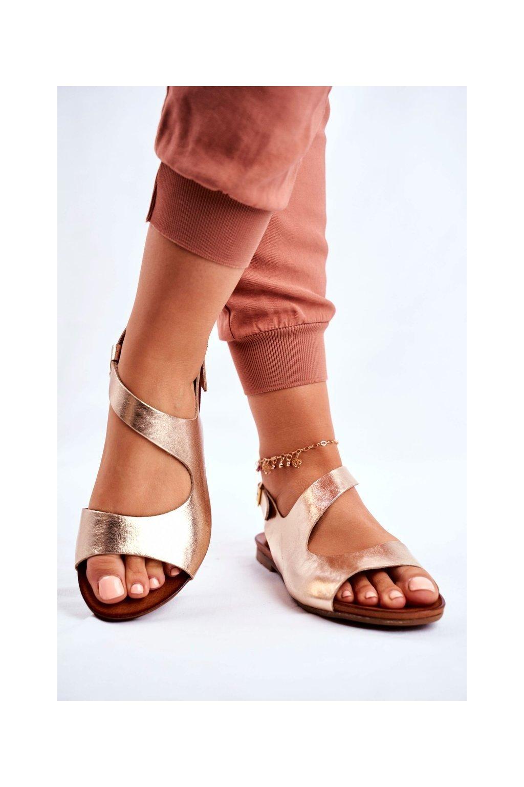 Dámske ploché sandále farba žltá kód obuvi 1116 GOLD 114