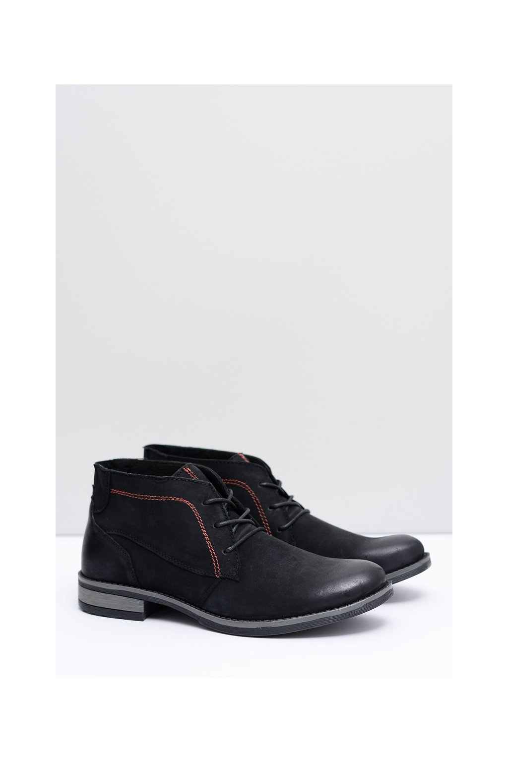 čierne pánské kožené topánky Drake