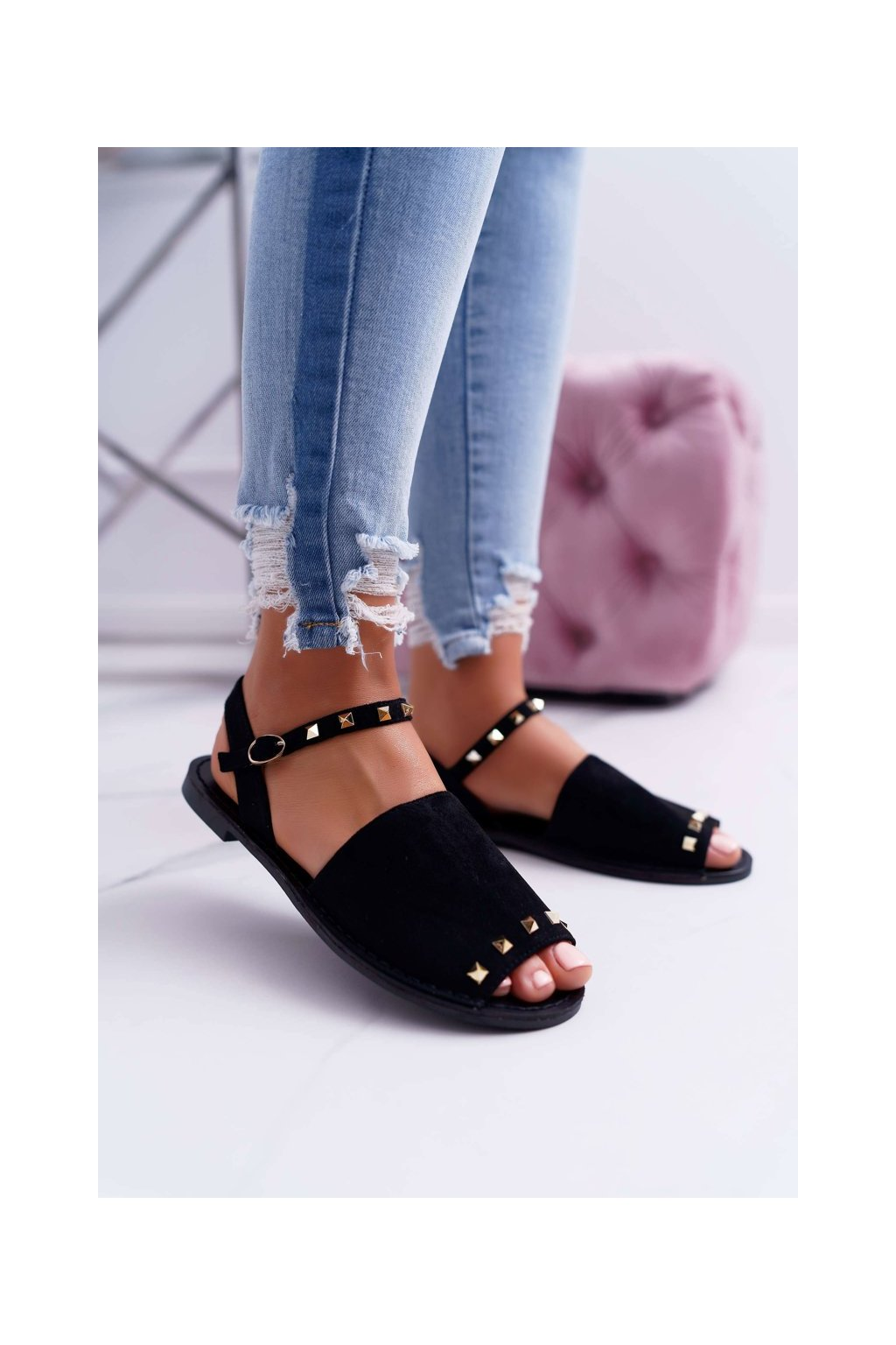 Dámske ploché sandále farba čierna kód obuvi 108-B15 BLK