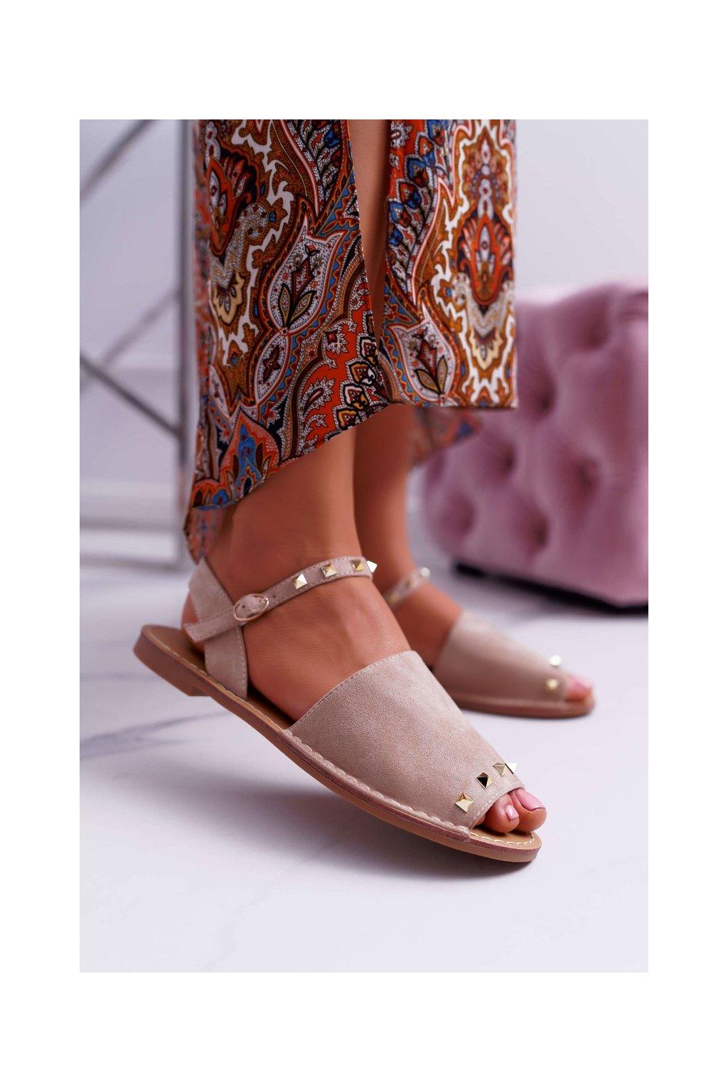 Dámske ploché sandále farba hnedá kód obuvi 108-B15 BEIGE