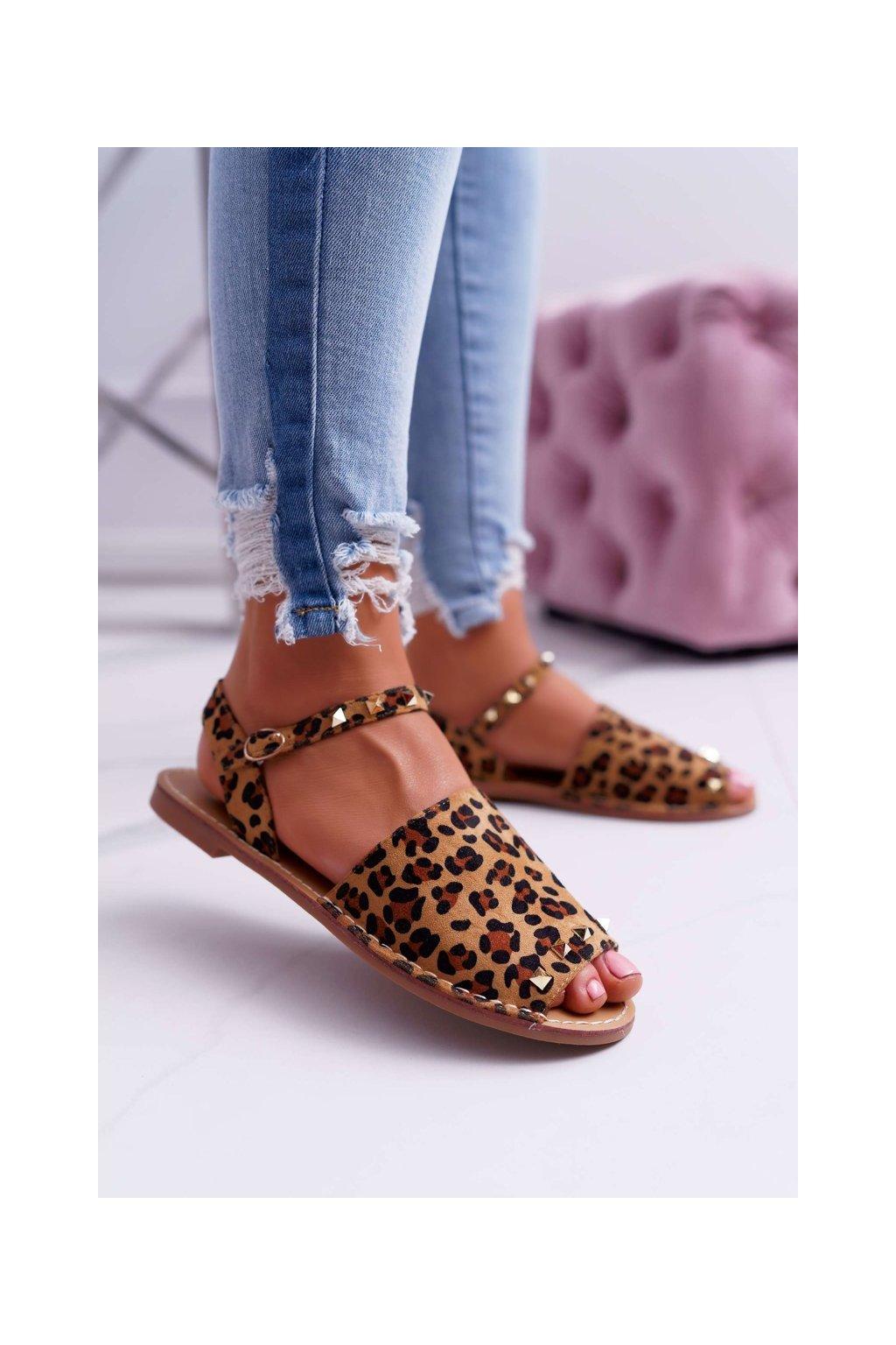 Dámske ploché sandále farba hnedá kód obuvi 108-B15 LEO/CAM