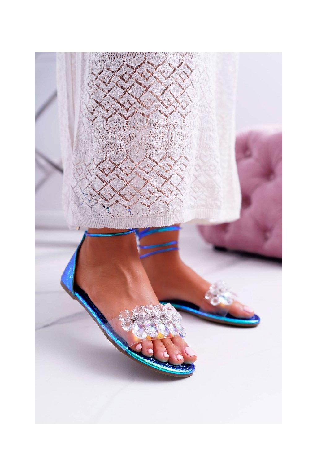 Dámske ploché sandále farba modrá kód obuvi SF22 BLUE