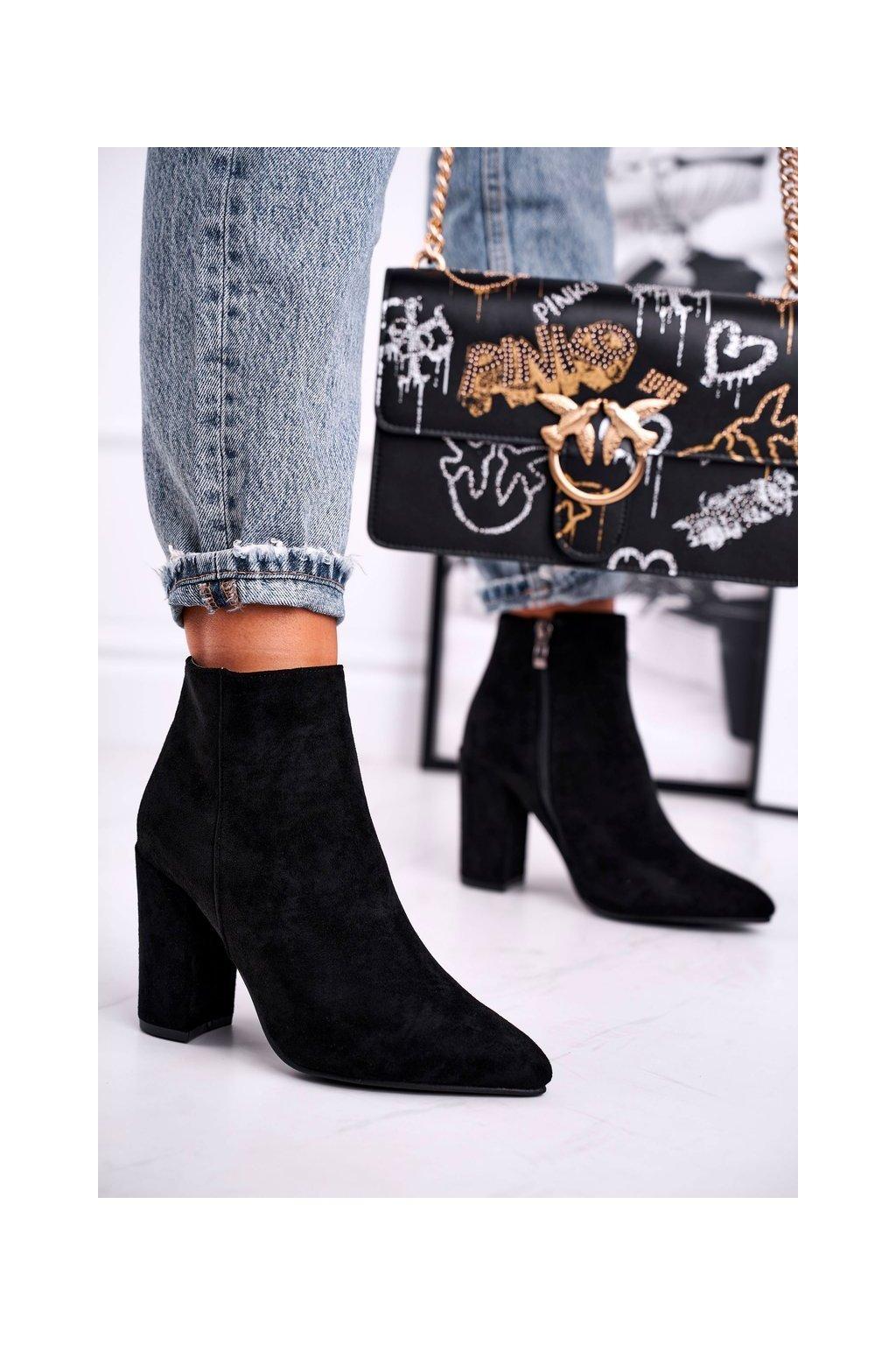 Členkové topánky na podpätku farba čierna kód obuvi S0-27 BLK
