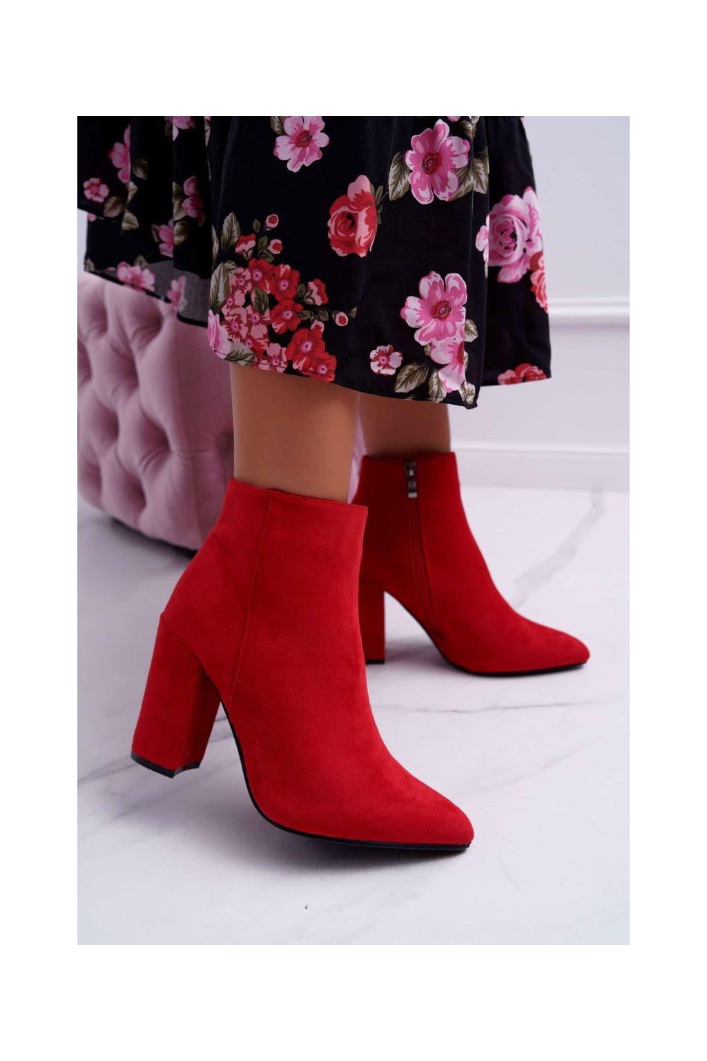 Členkové topánky na podpätku farba červená kód obuvi S0-27 RED