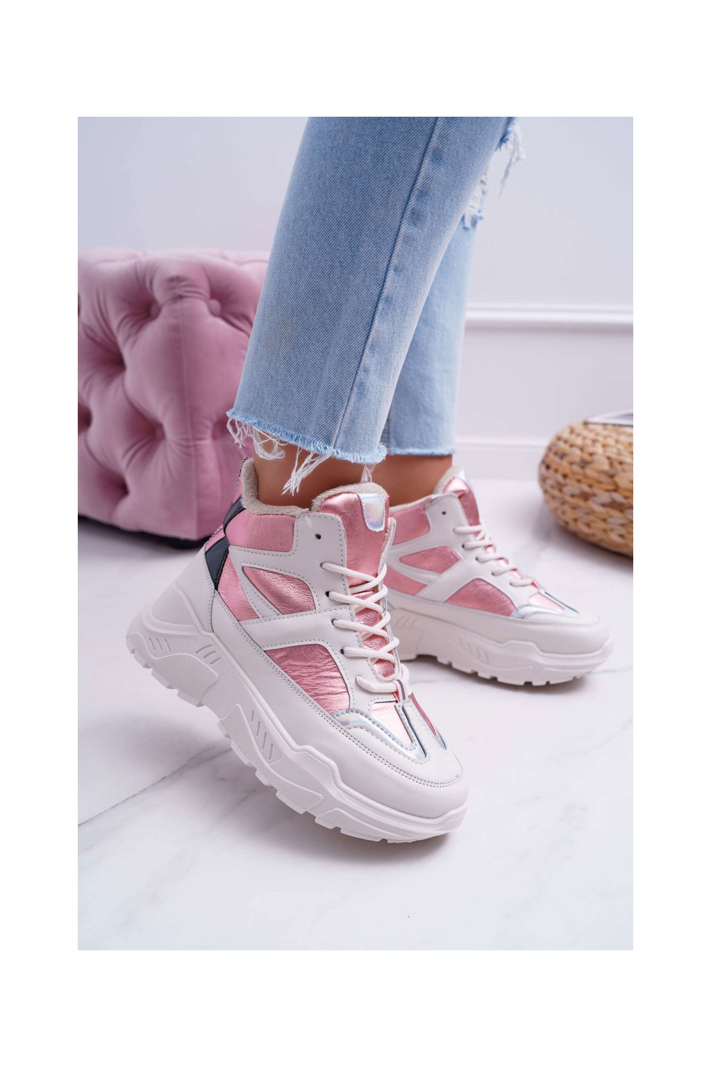 Dámske tenisky farba ružová kód obuvi LV95P-4 PINK