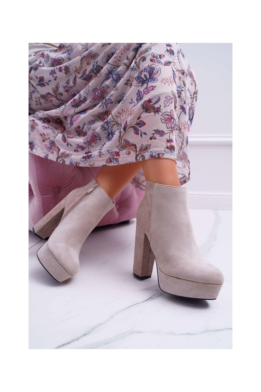 Členkové topánky na podpätku farba hnedá kód obuvi 88-301 KHAKI