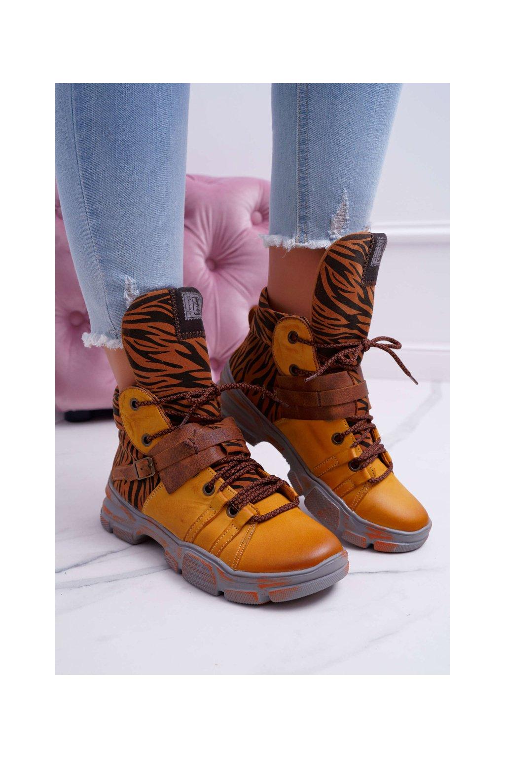 Členkové topánky na podpätku farba žltá kód obuvi 04218-07/00-5 YELLOW