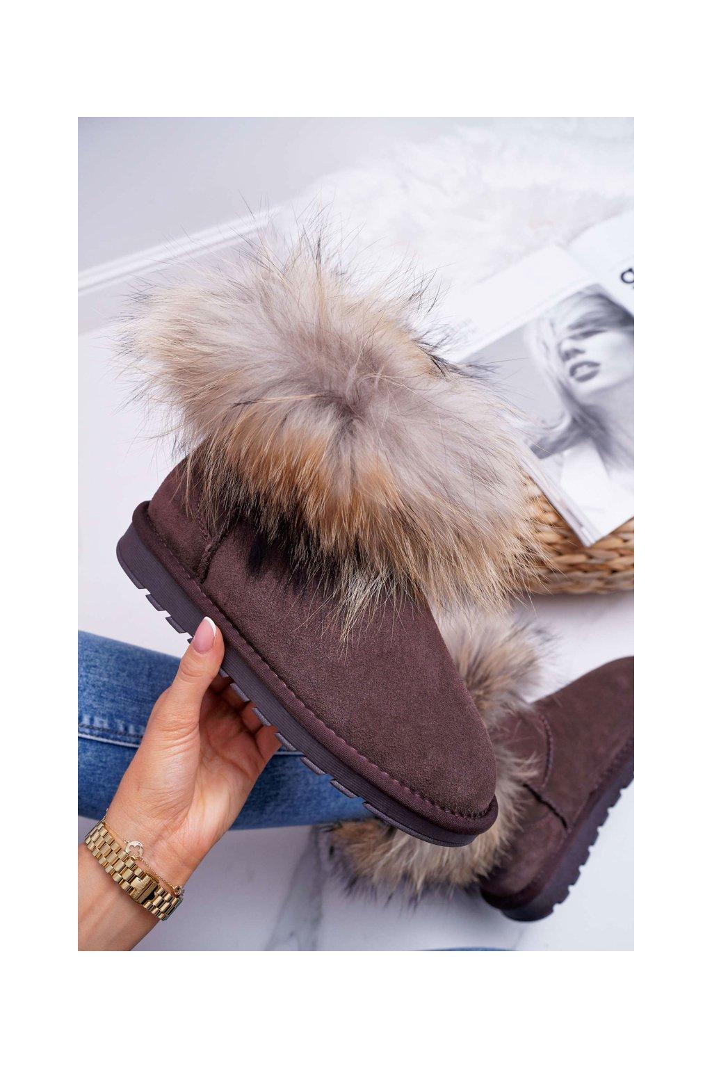 Dámske Snehule s kožušinou Hnedé Snow Fox