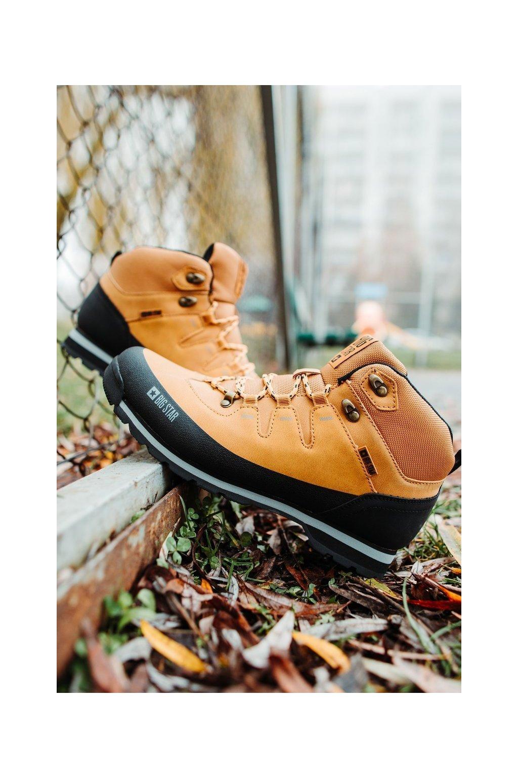 Pánske trekingové topánky farba hnedá kód obuvi EE174438 CAMEL