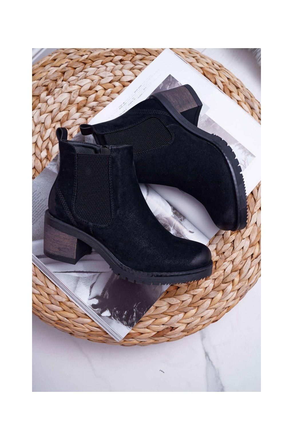 Dámske členkové topánky na podpätku Sergio Leone čierne BT702