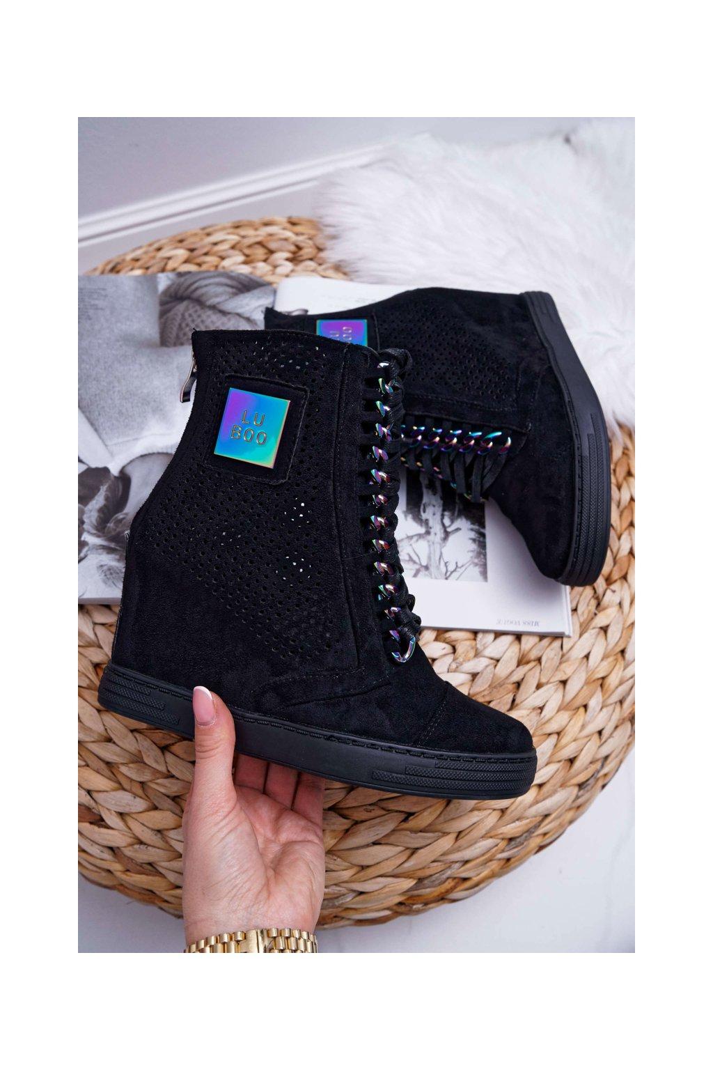 Dámska semišová Obuv Sneakers Lu Boo sieťované, čierne Clamma