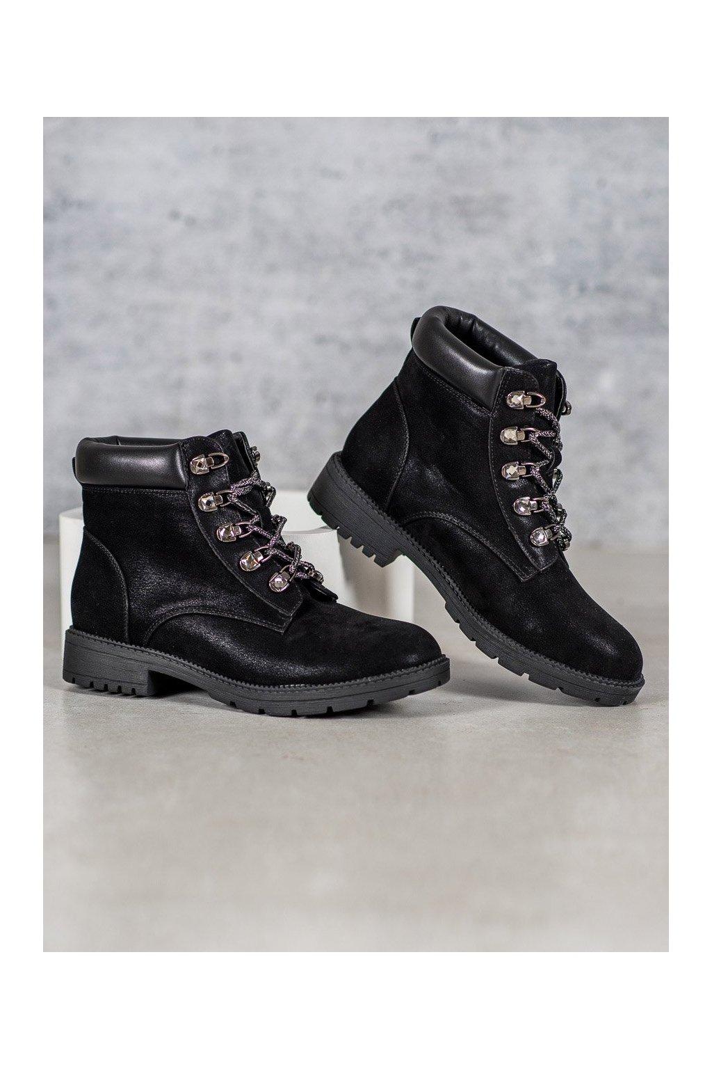 Čierne dámske topánky na plochom podpätku Vices kod 2223-1B