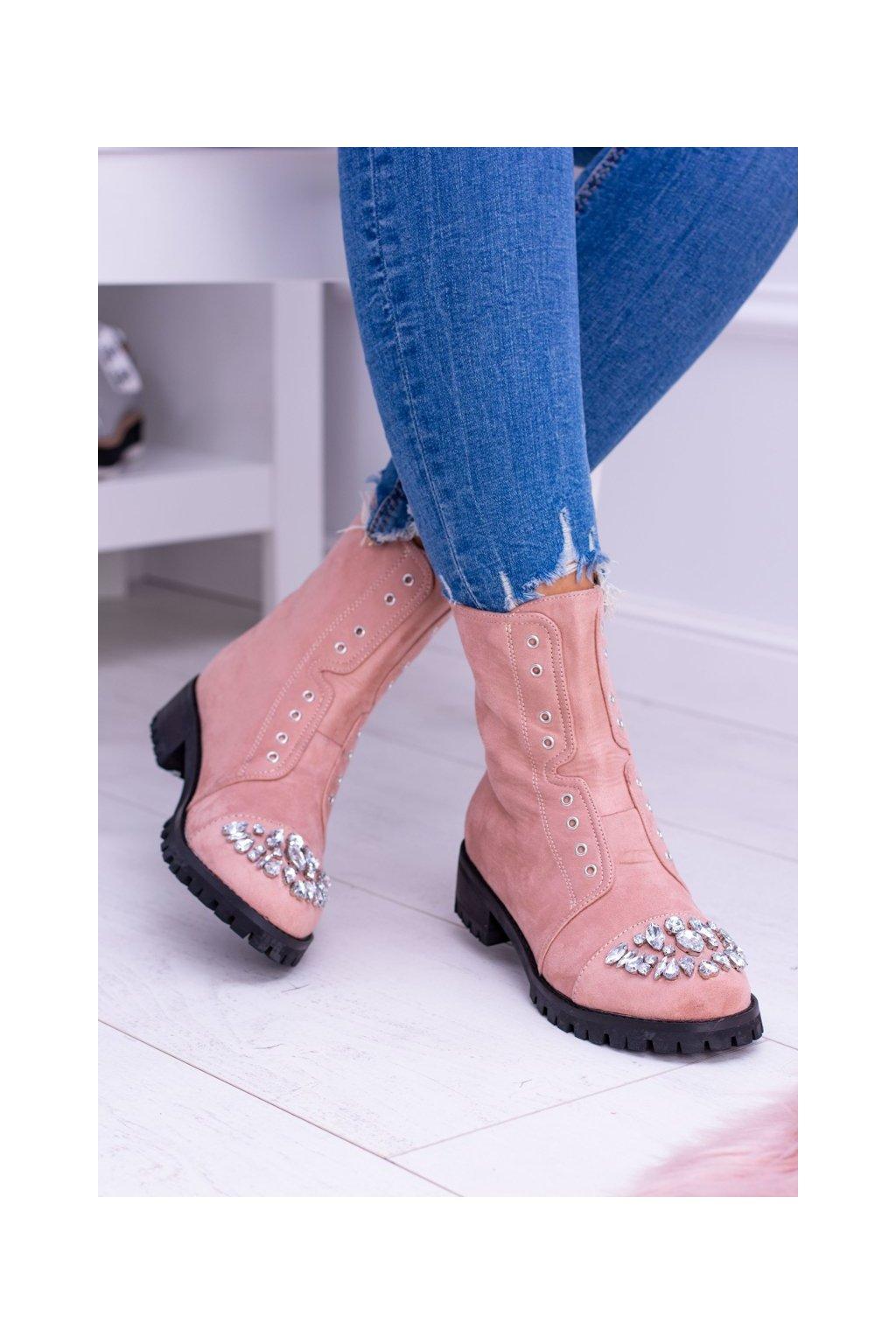 Členkové topánky na podpätku farba ružová kód obuvi XW37279 PINK
