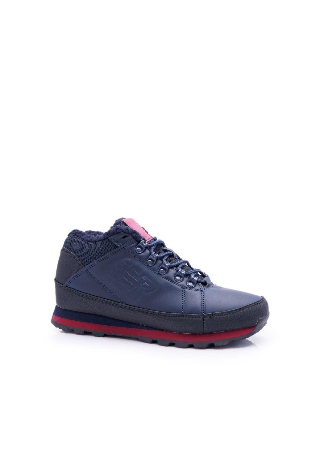 Pánske trekingové topánky farba modrá kód obuvi 9WH917 NAVY/RED