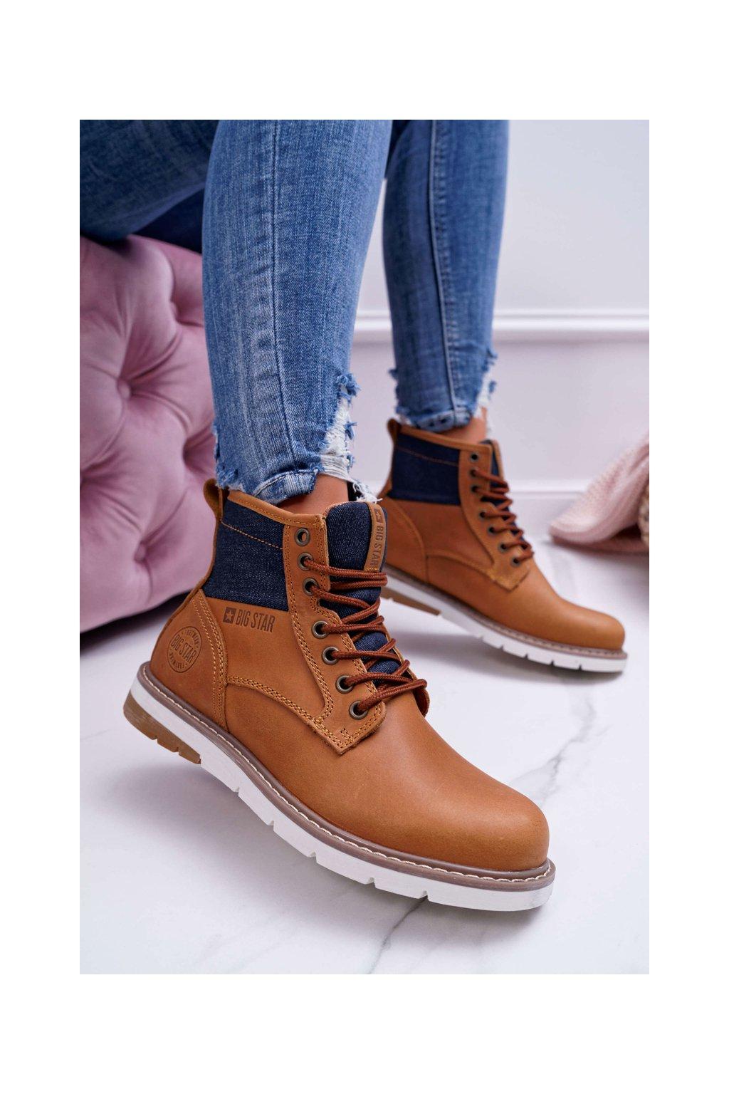 Členkové topánky na podpätku farba hnedá kód obuvi EE274004 LT.BROWN
