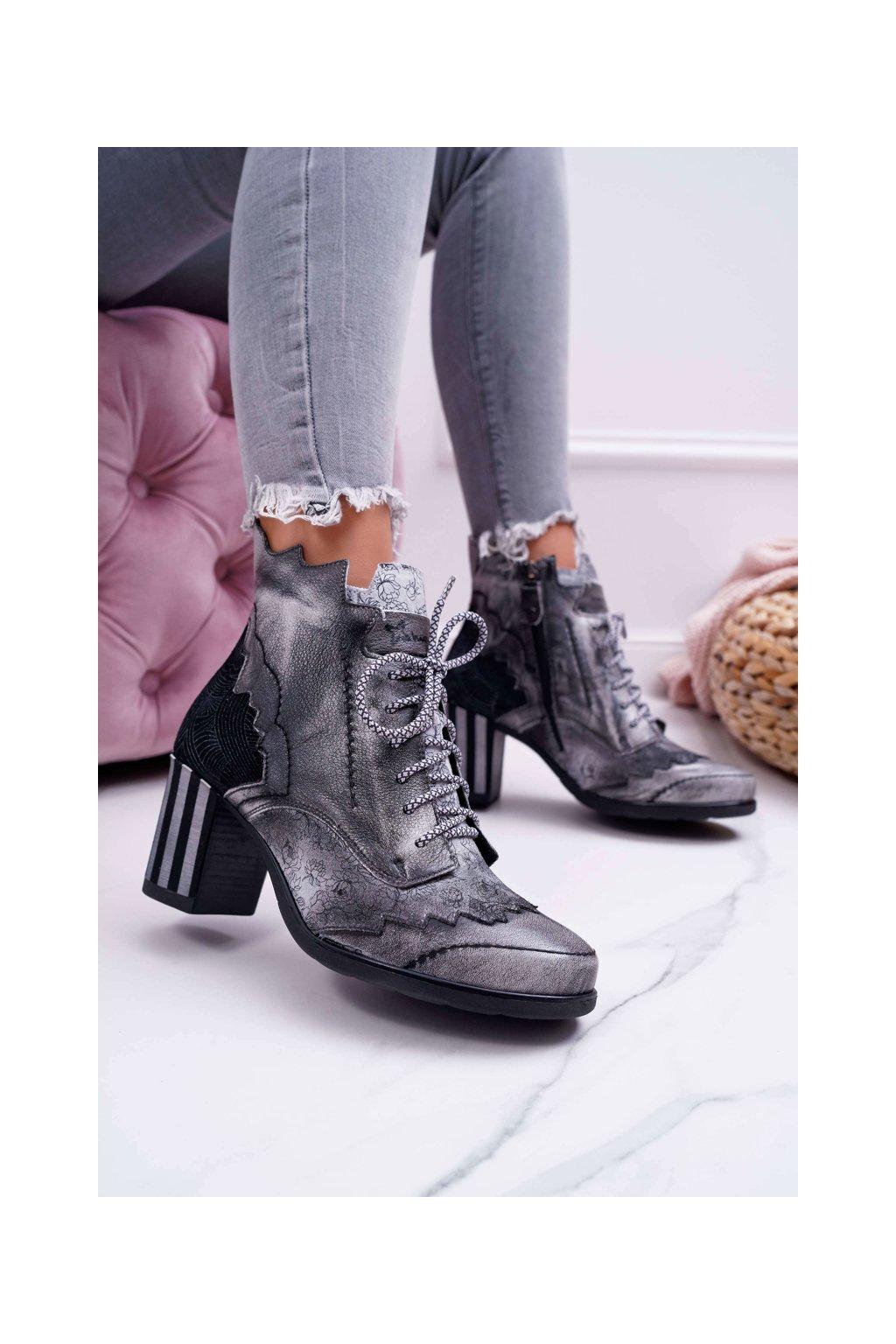 Dámske topánky Majka Kožené sivé 03190
