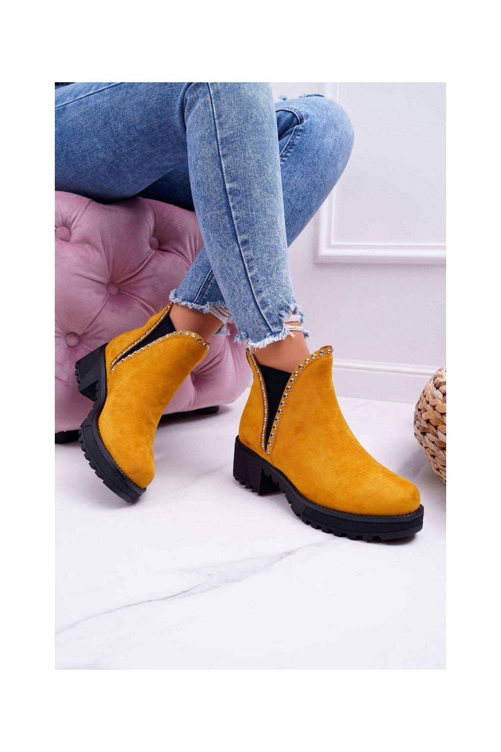 Dámske topánky so zirkónmi žlté Sissy