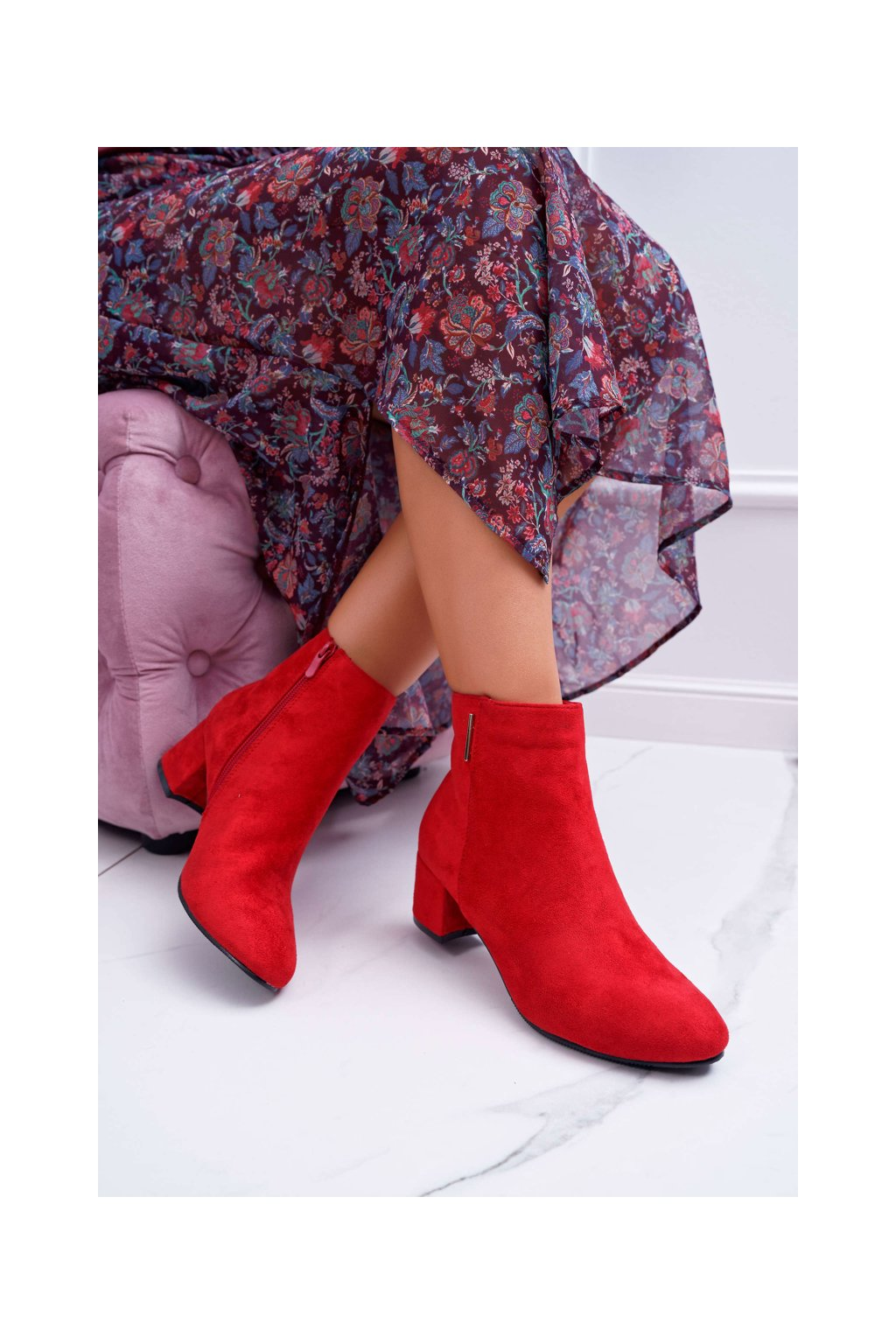 Dámske členkové topánky Červené Fiorelli